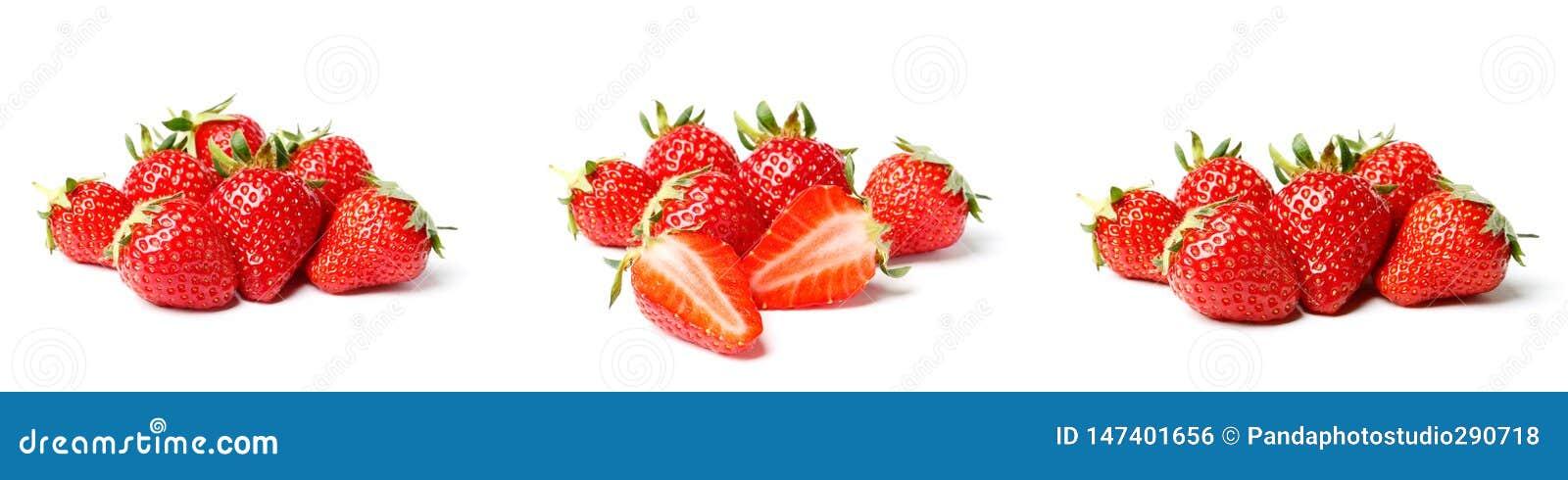 En upps?ttning av den nya jordgubben som isoleras p? vit bakgrund