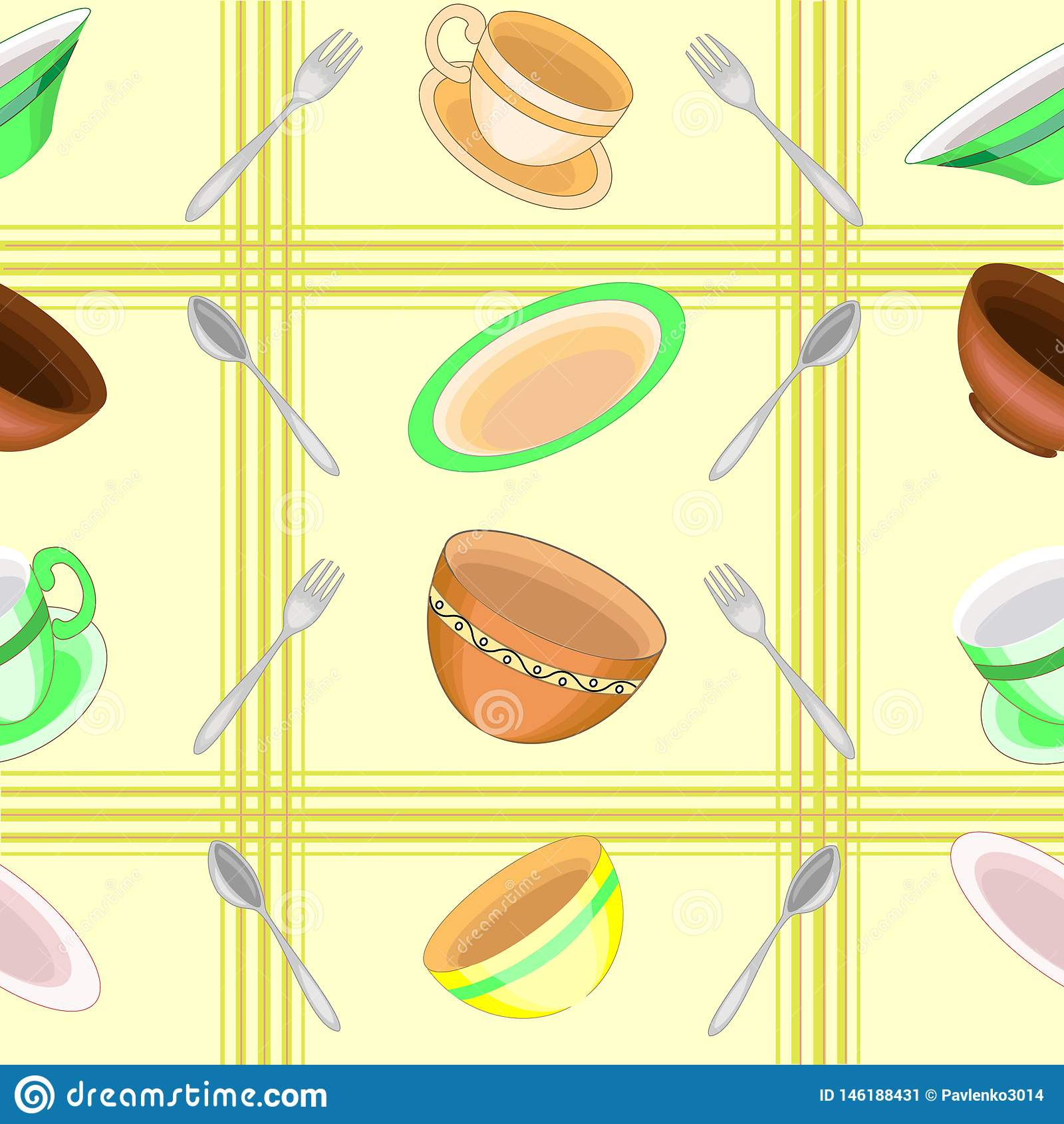 En utsmyckad modell Härlig disk, bunkar, koppar, skedar, gafflar Passande som tapeten i köket, som en bakgrund för att förpacka