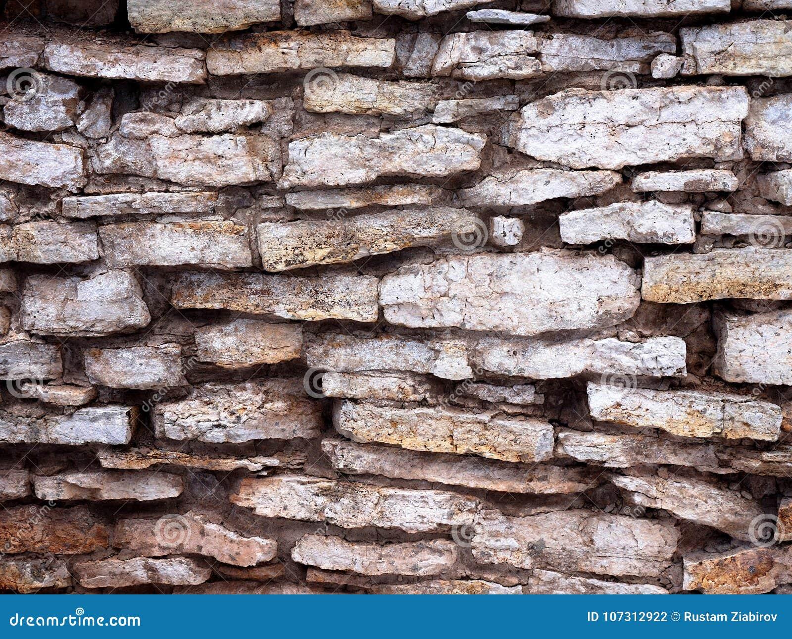 En vägg som göras av gamla plana stenar Inte även ett murverk