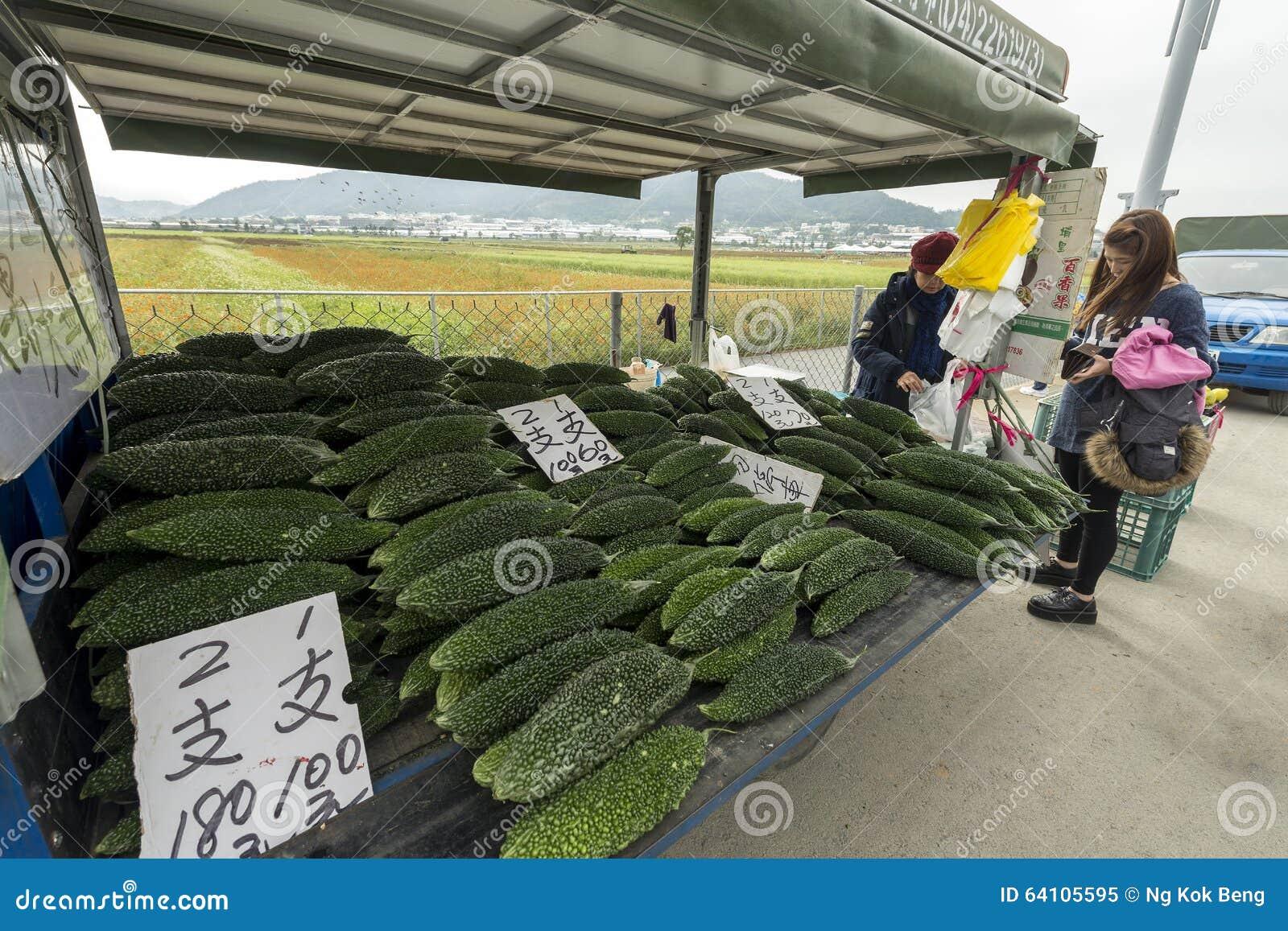 En vägrenstall som säljer nya organiska kinesiska gurkor, Taichung av Taiwan