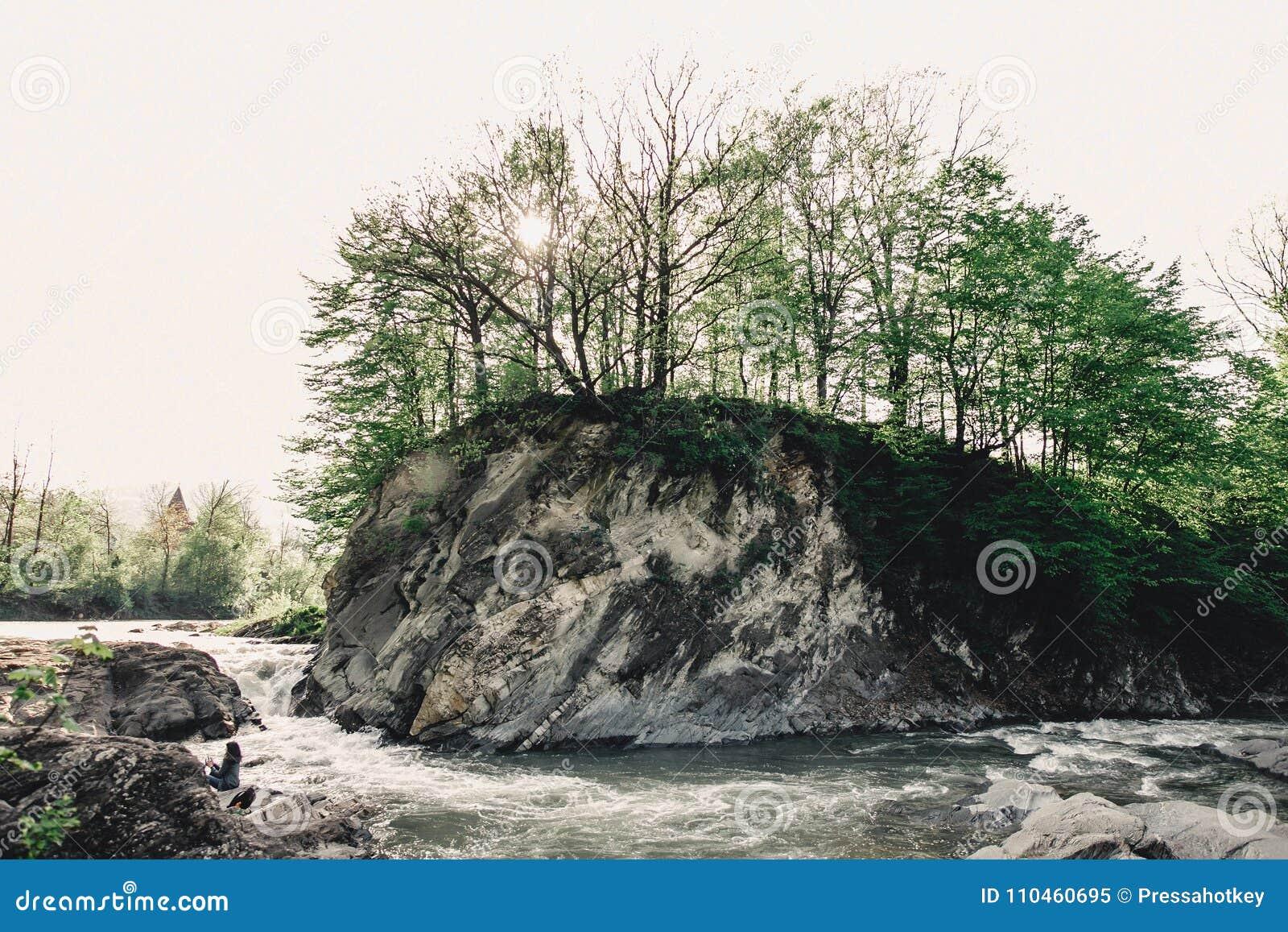 En vattenfall under en vagga i bakgrunden av en grön skog
