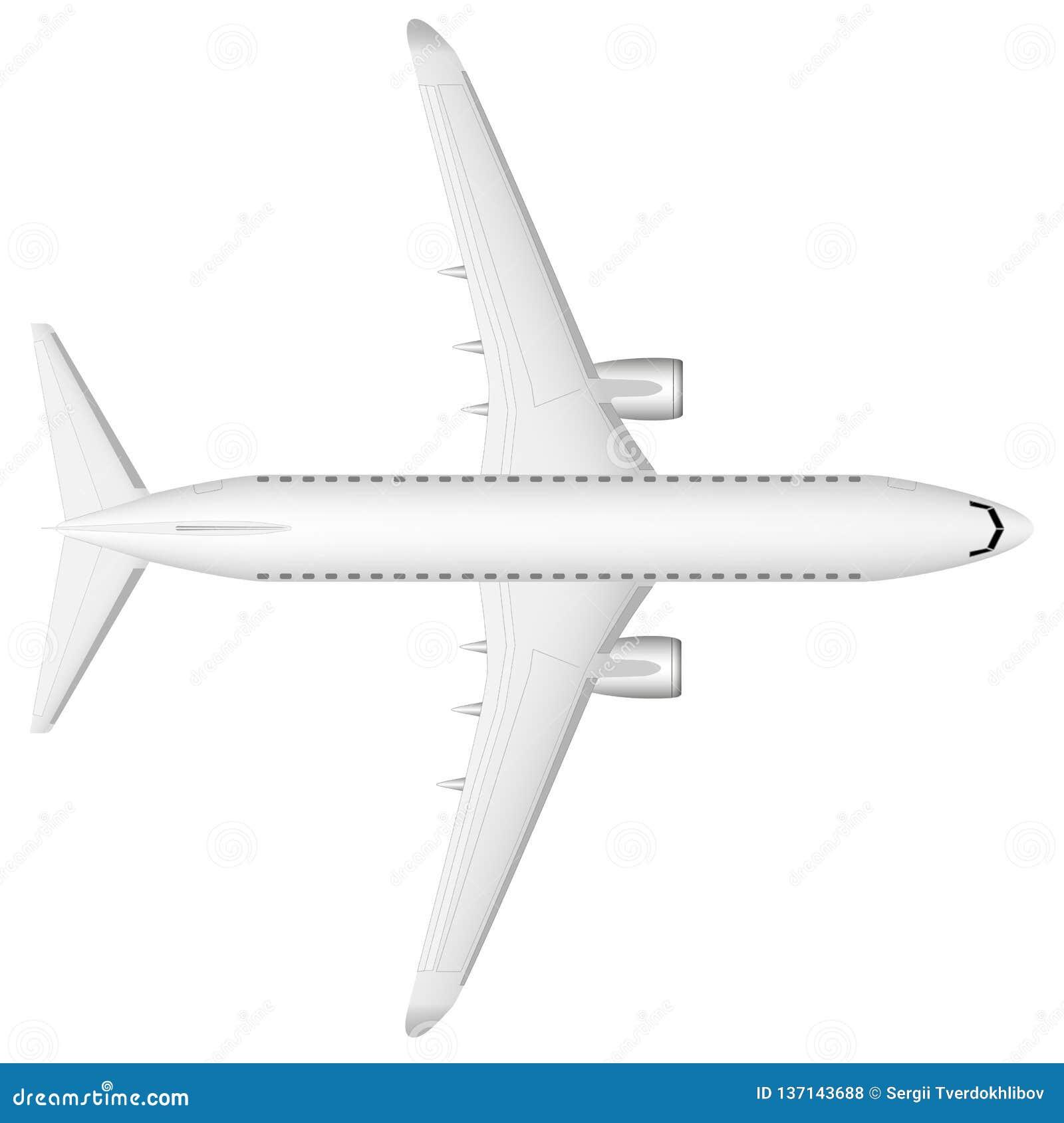 En vit nivå för modern strålpassagerare på landningsbanan ovanför sikt Enplanlagd bild med en mass av små detaljer