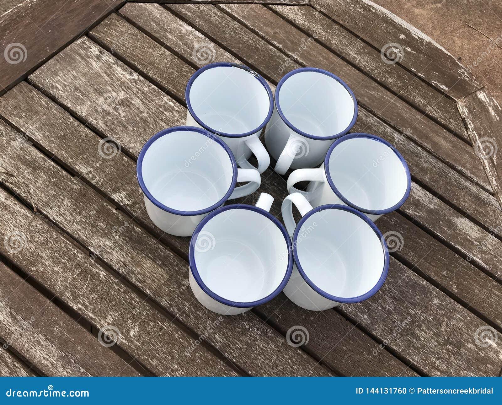 Enamel Coated Tin Cups Mugs Mock-up