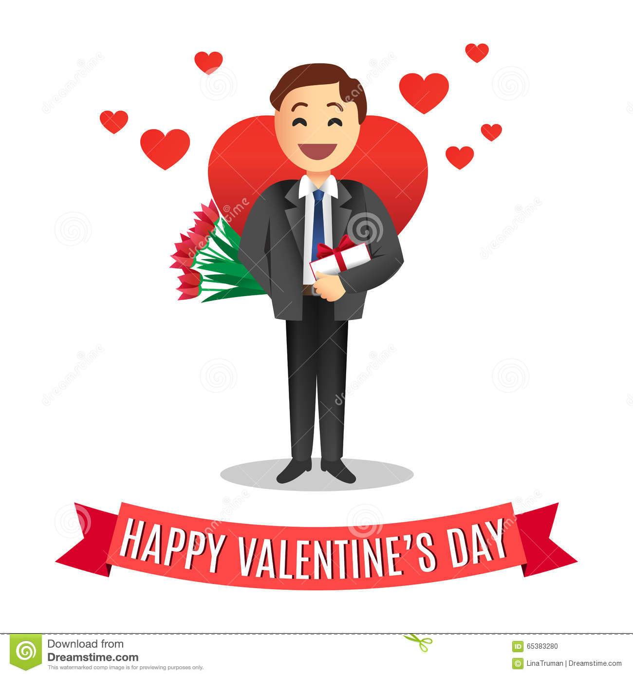 Romantic Cartoon Man With Flowers For Valentines Day Stock Vector