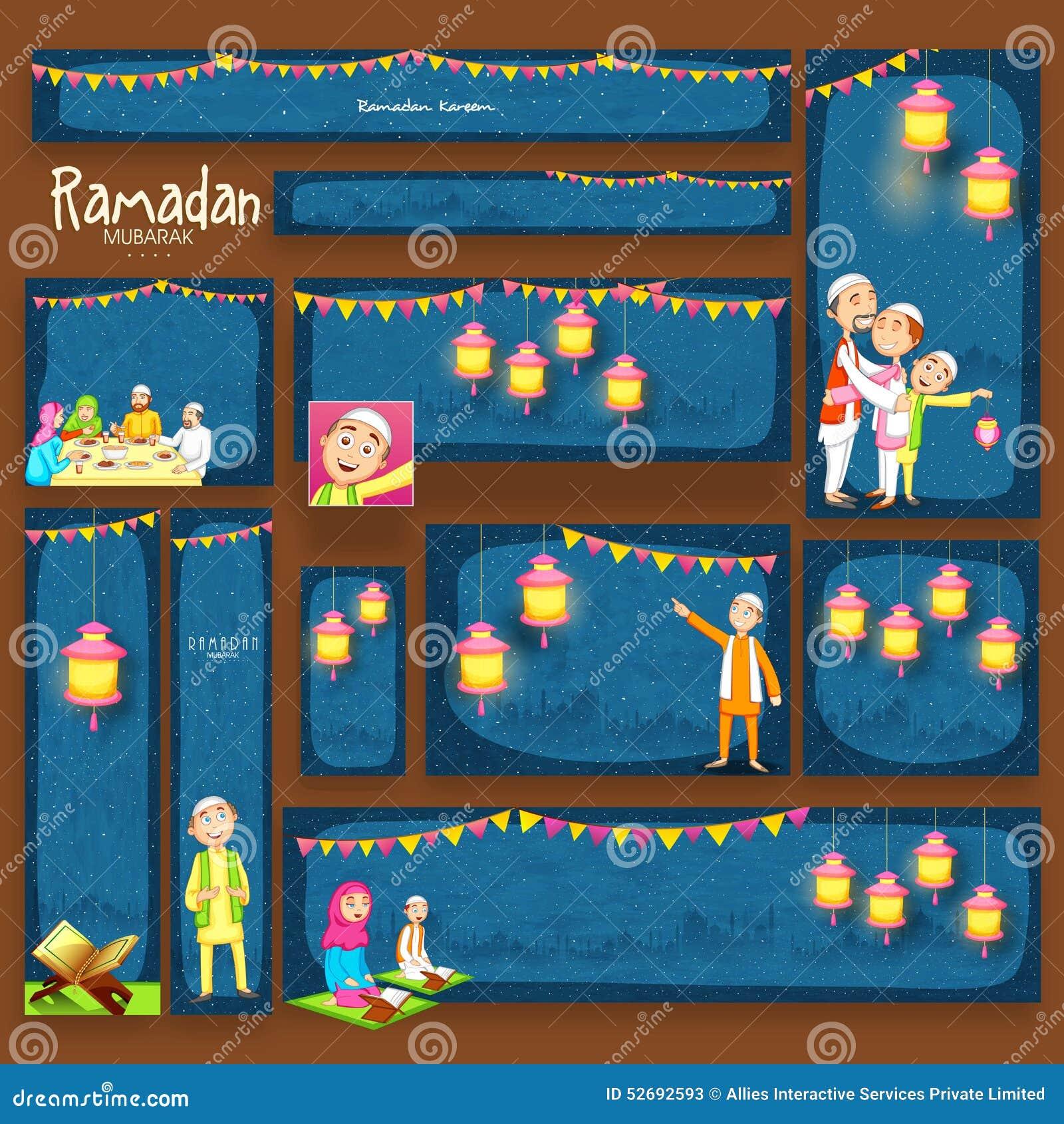 Encabeçamento ou bandeira do Web site para a celebração de Ramadan Kareem