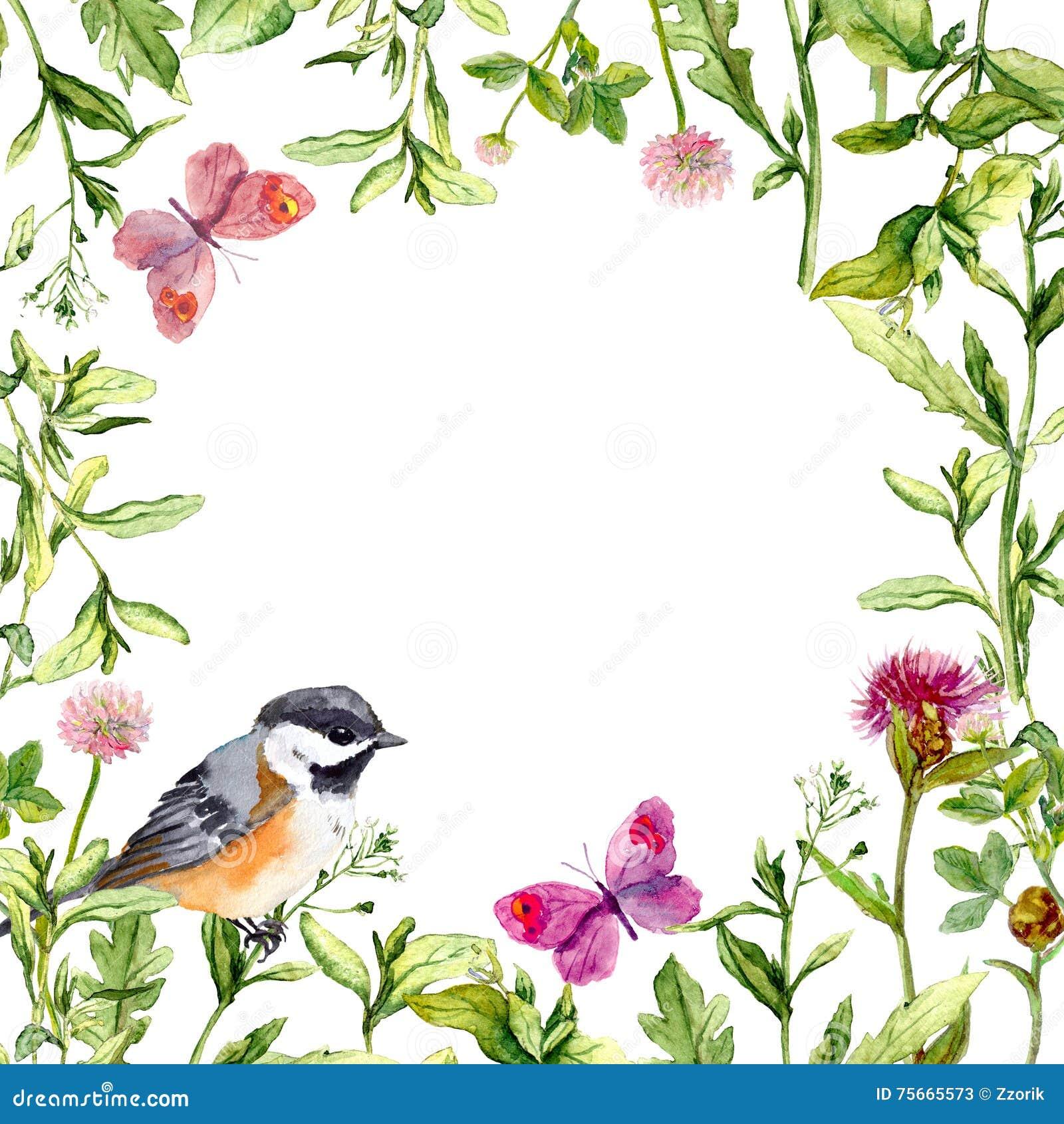 encadrez le cadre avec les fleurs l 39 oiseau et les. Black Bedroom Furniture Sets. Home Design Ideas