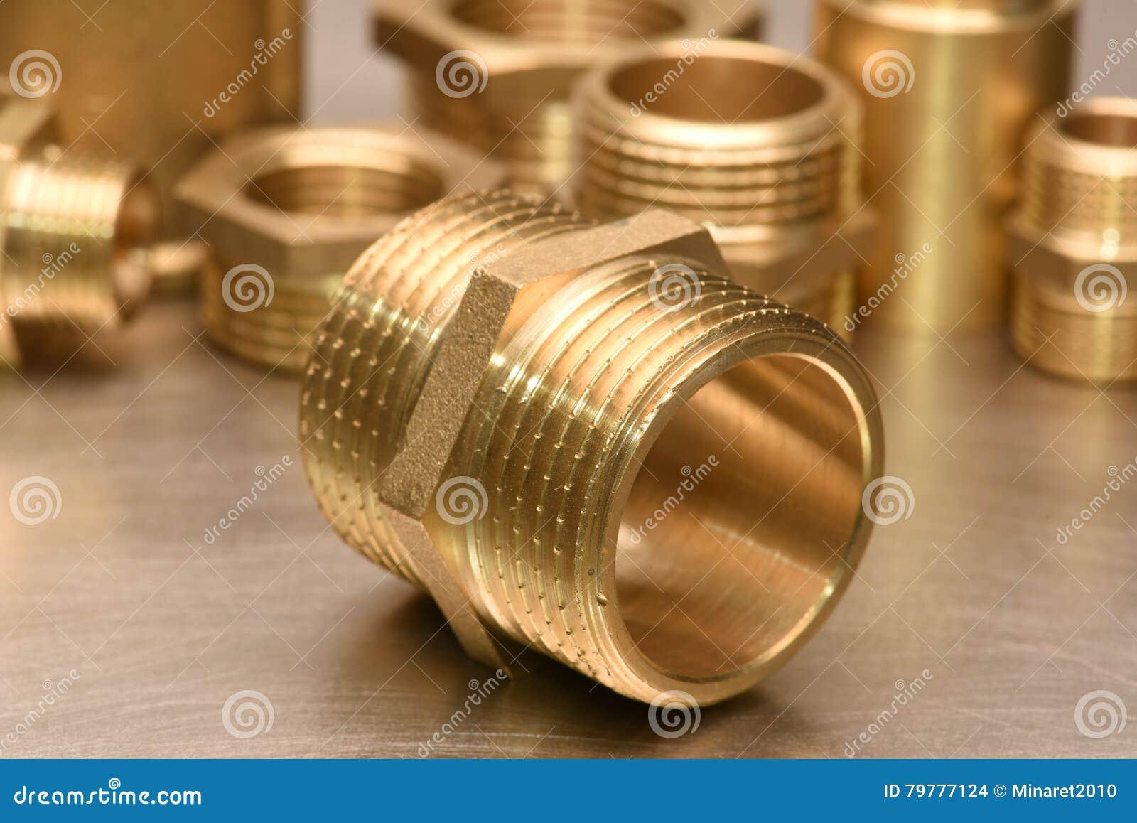 Encaixes de bronze para a água e o gás