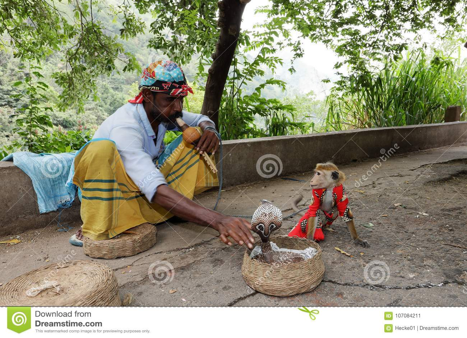 Encantador de serpente com a cobra em Sri Lanka
