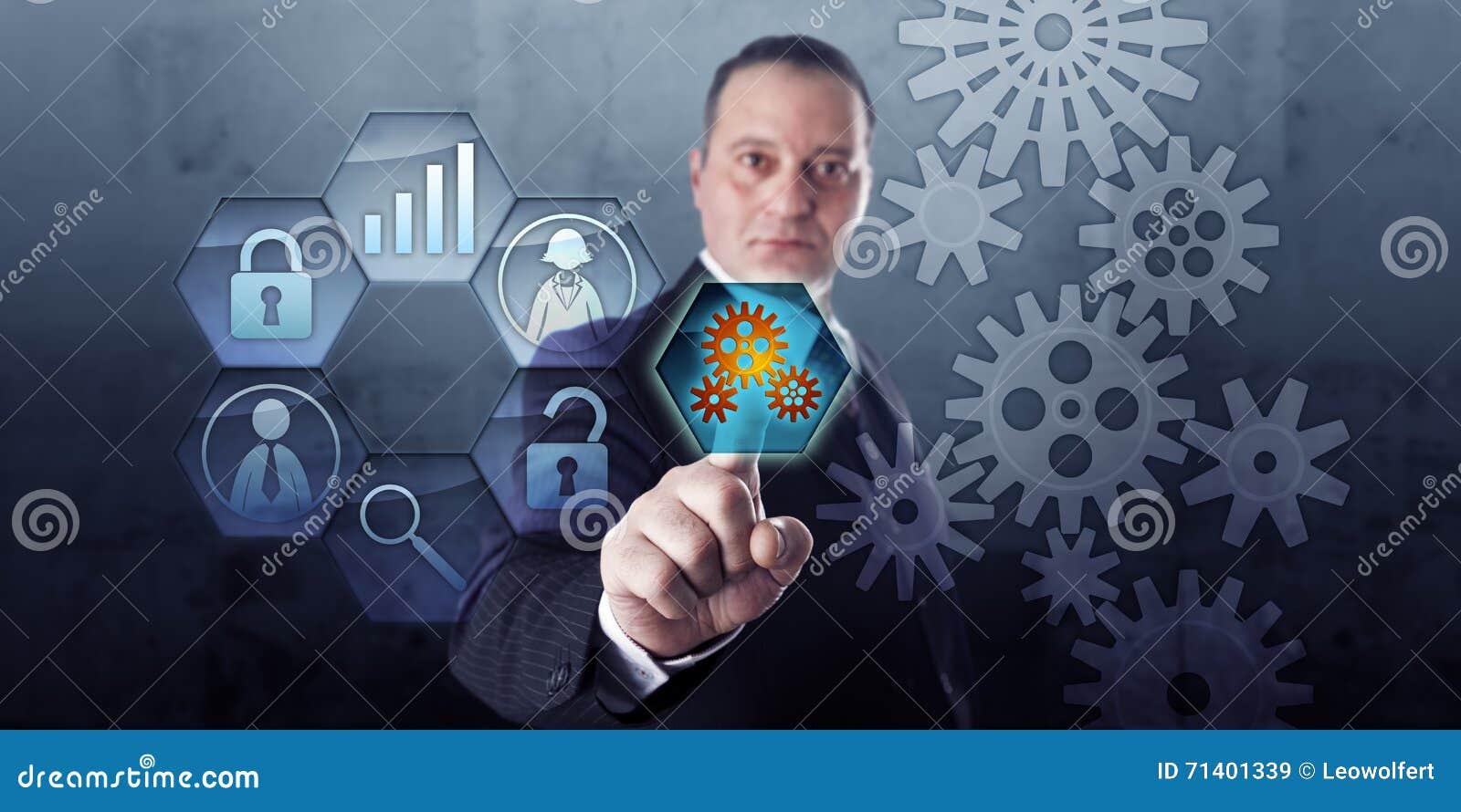 Encargado de proceso Connects Gear Train y flujo de trabajo