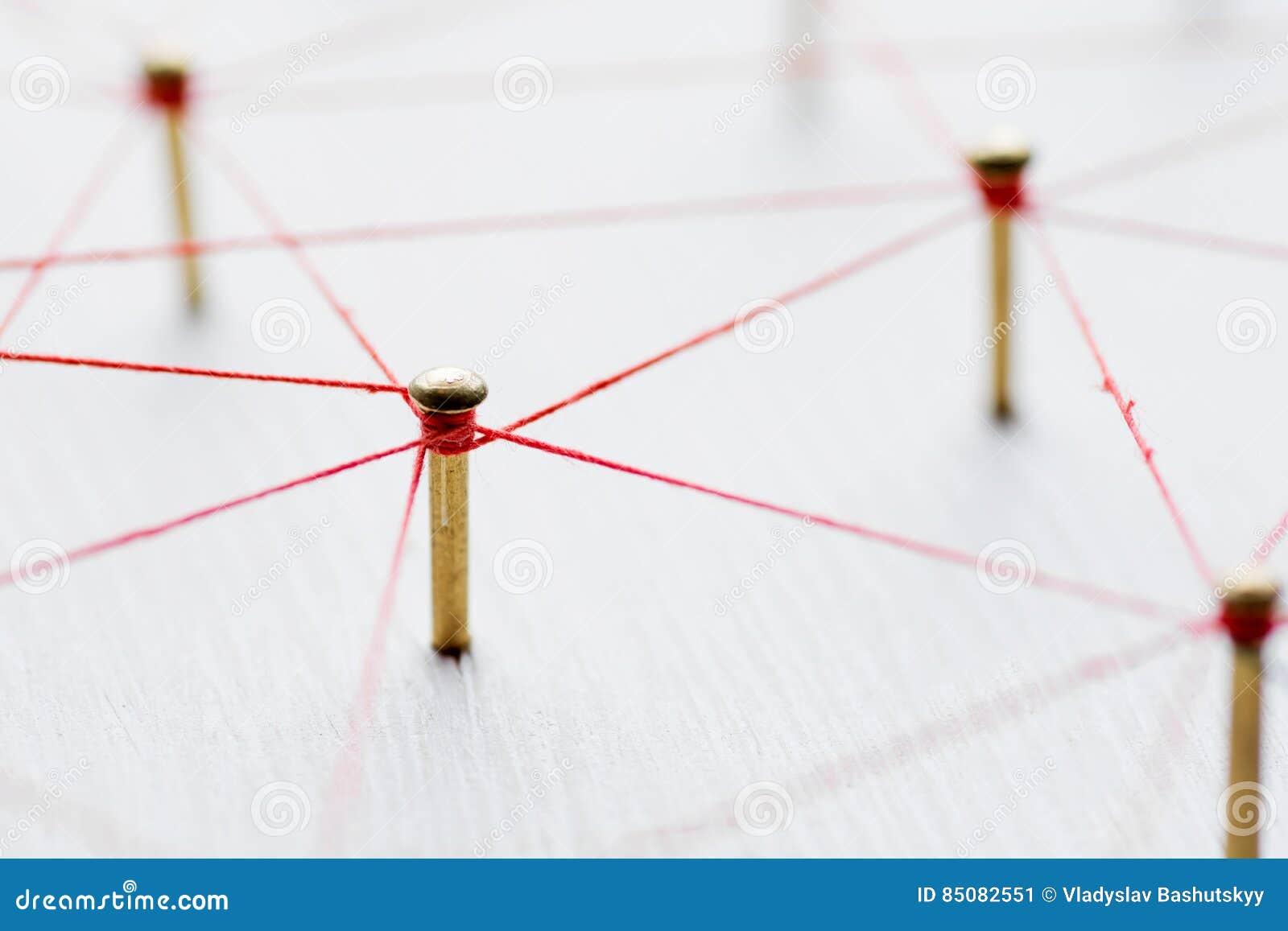 Enchaînement des entités Réseau, mise en réseau, media social, connectivité, abrégé sur communication d Internet Web de fil mince