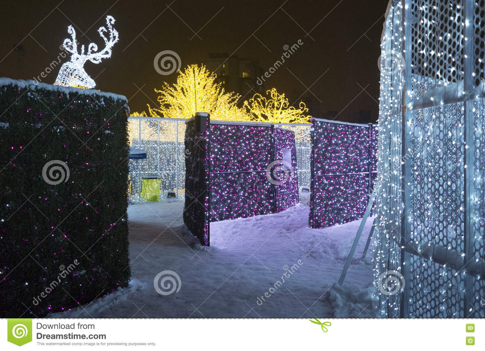 Enchant Christmas.Enchant Christmas Light Maze And Market Stock Photo Image