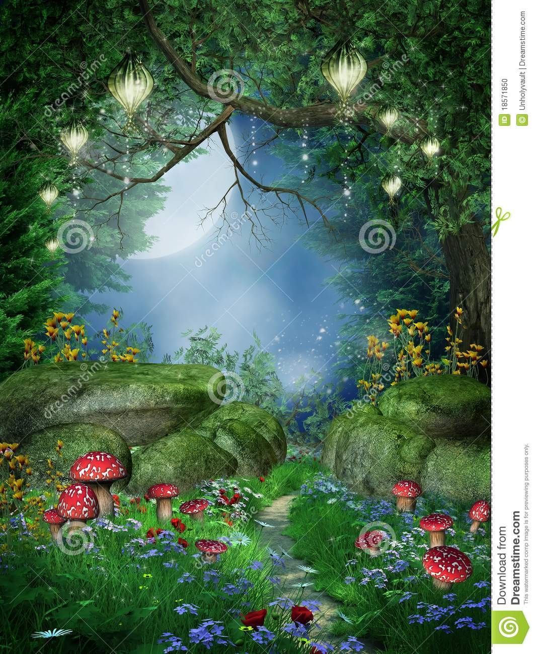 Enchanted Forest With Lanterns Stock Illustration
