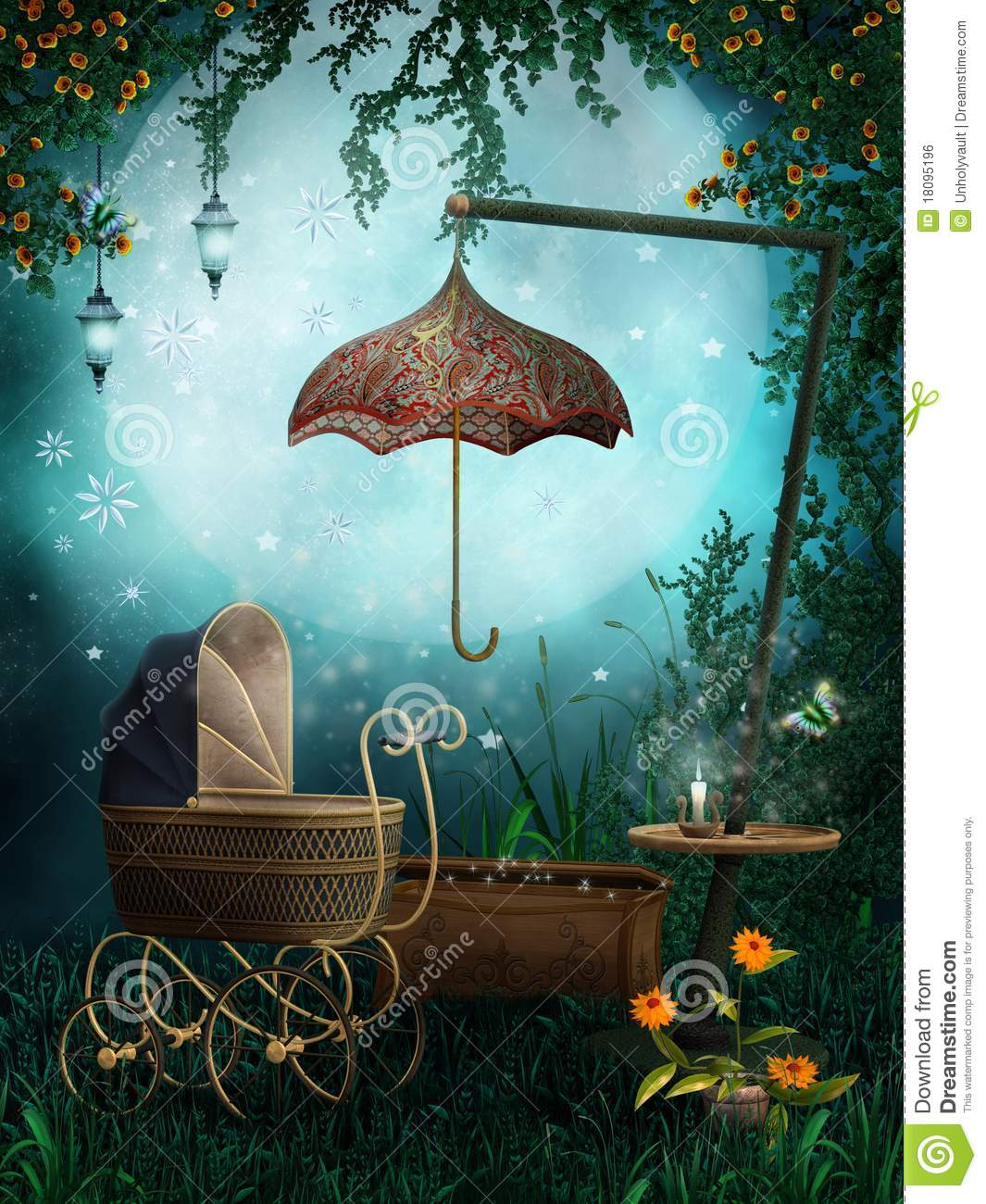 Enchanted Garden With A Pram Royalty Free Stock Image