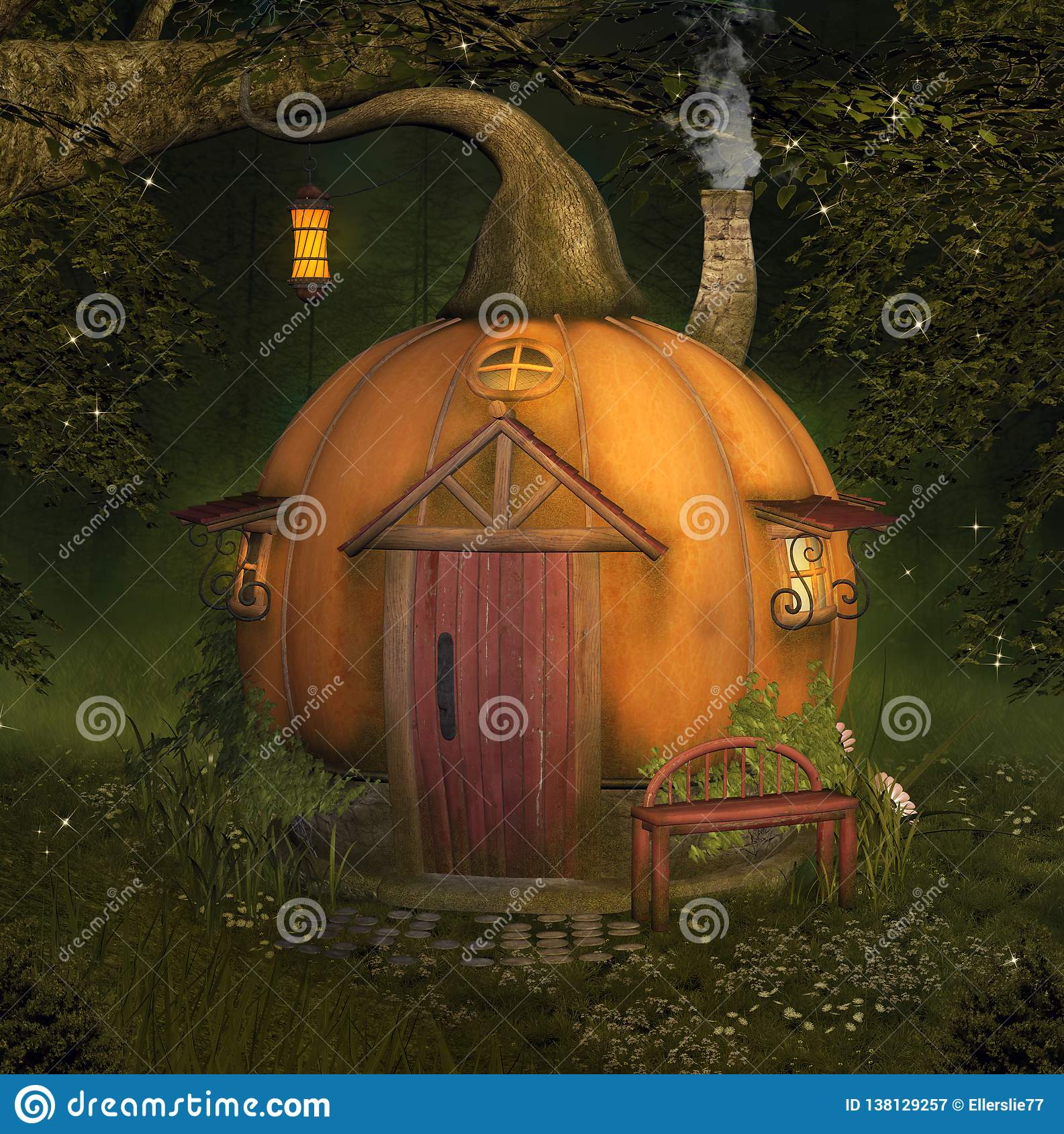 Enchanted pumpkin house in the forest