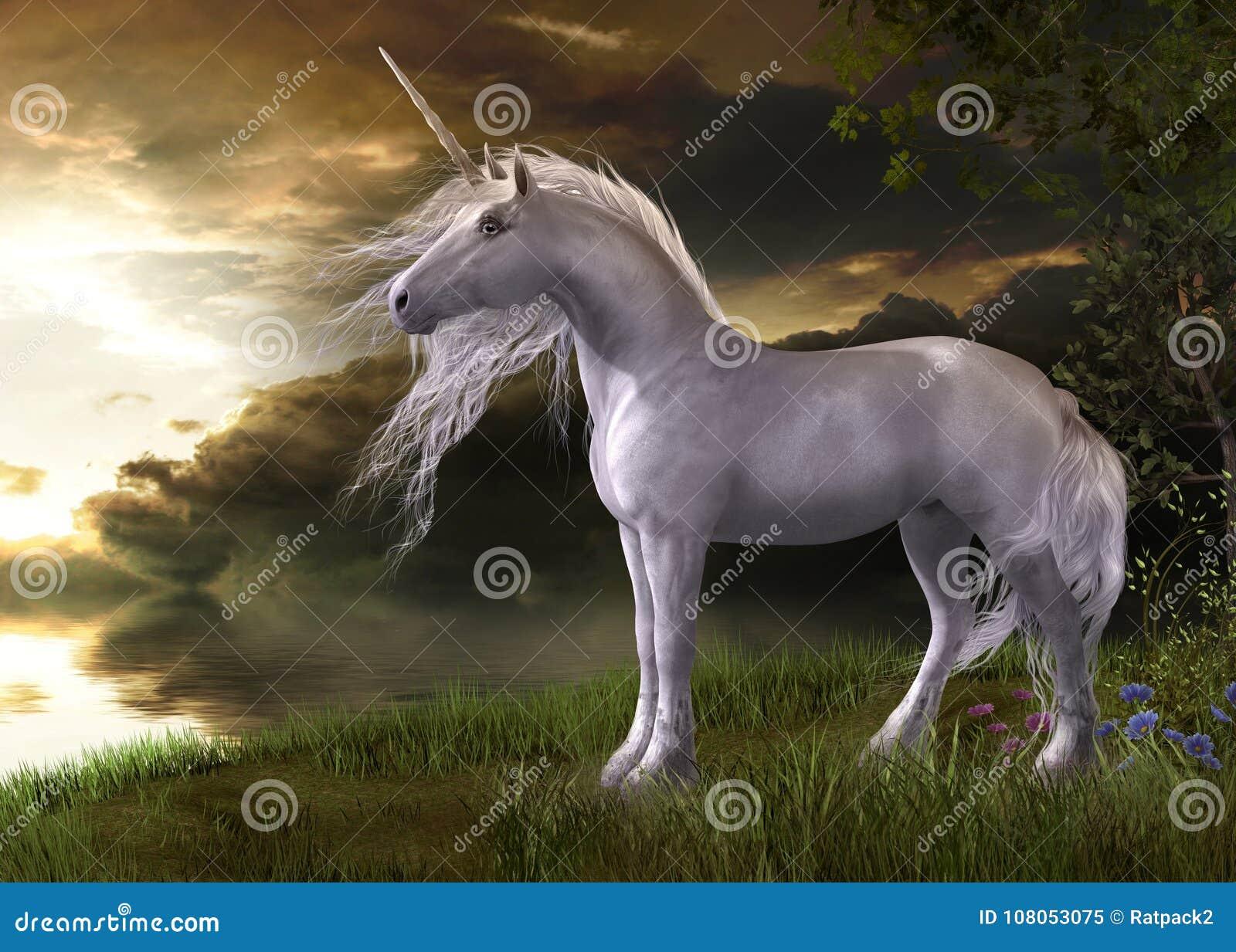 Enchanting White Unicorn Watching a Sunset