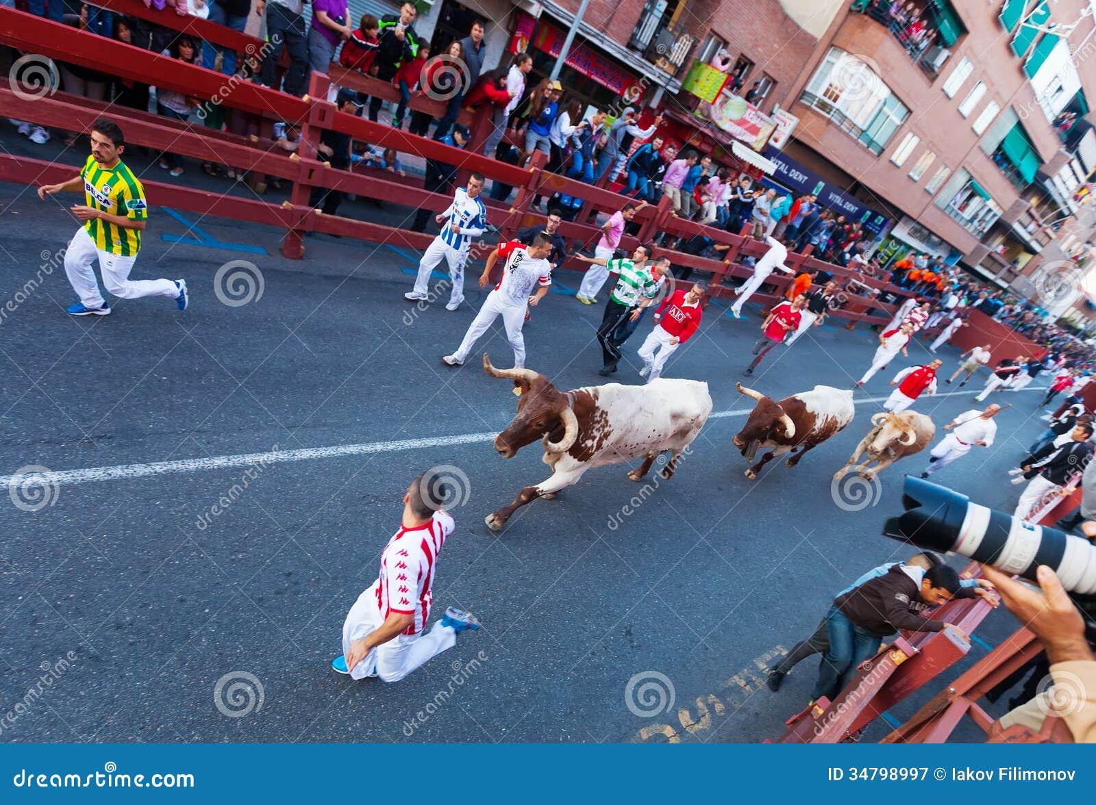 Encierro running of the bulls editorial photography for Cristaleria san sebastian de los reyes