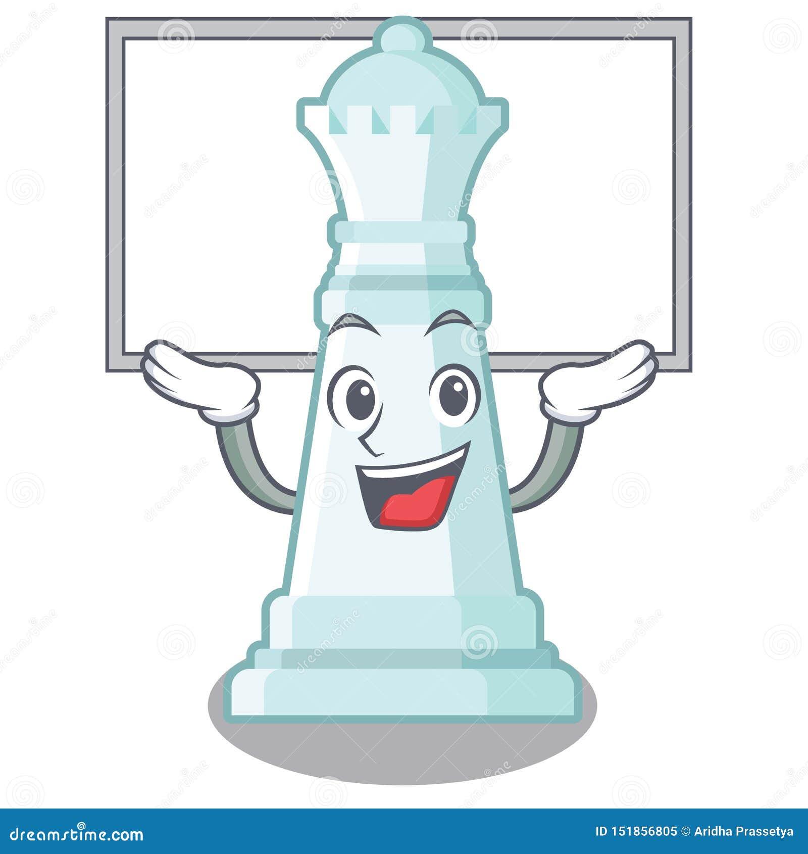 Encima de la reina del ajedrez del tablero aislada en el carácter