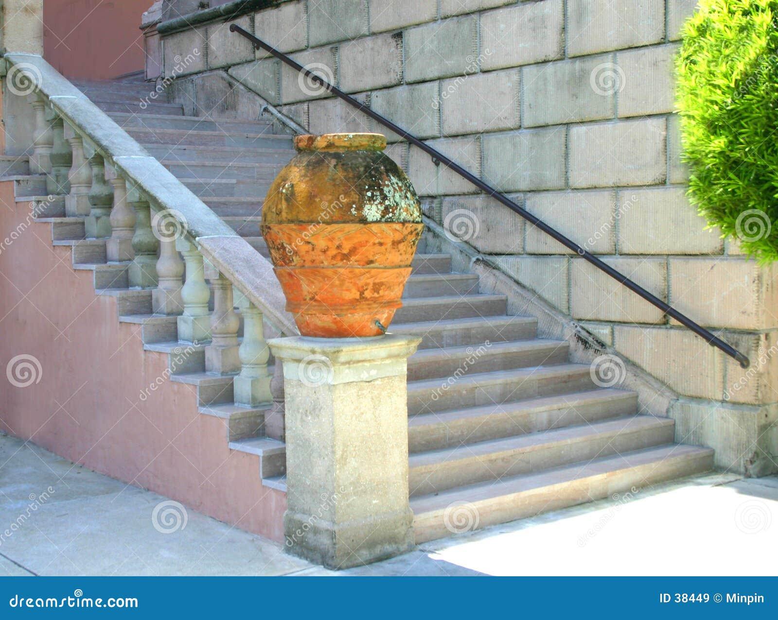 Encima de las escaleras