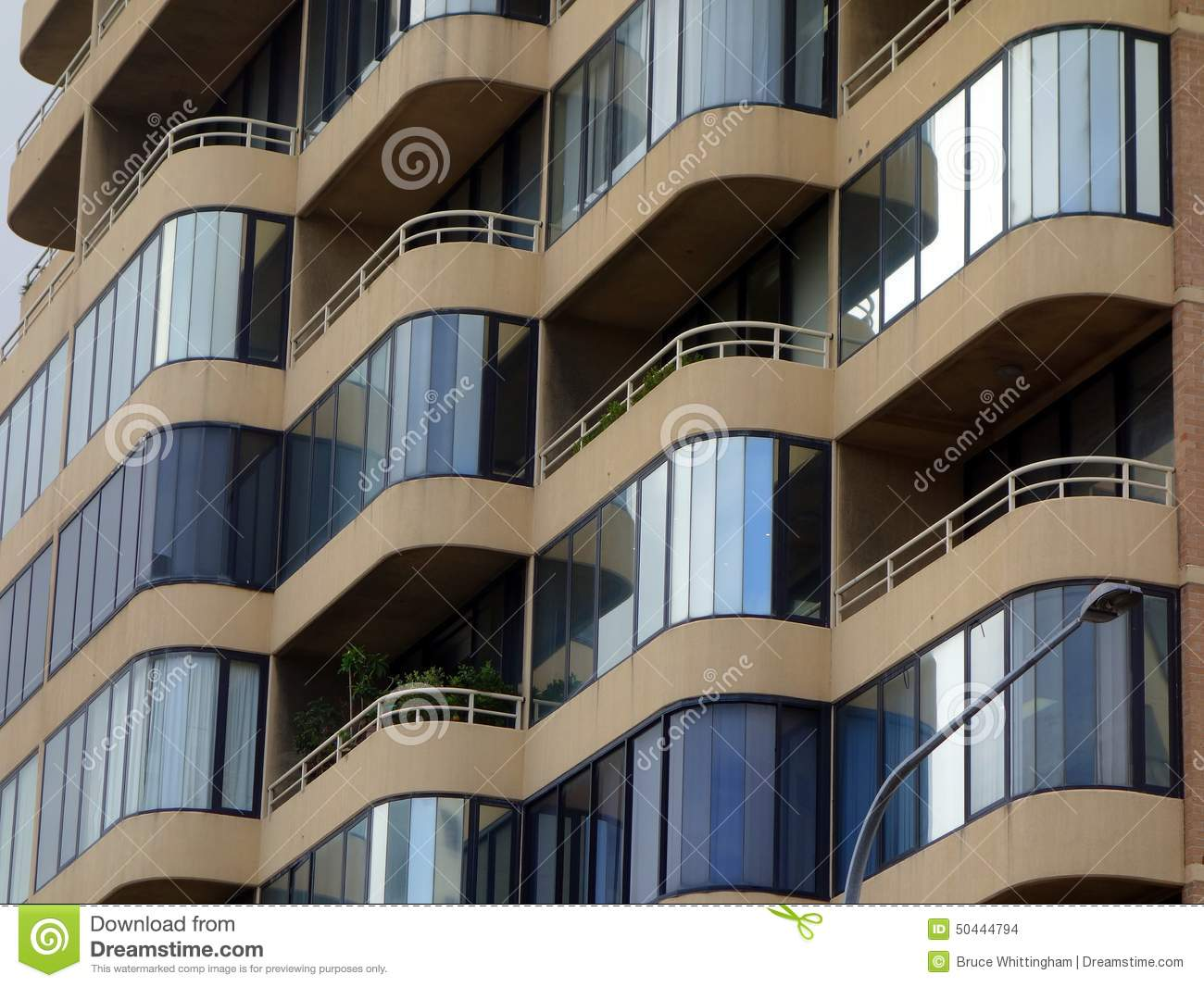 Enclosed Balconies Modern Apartment Building Stock Photo