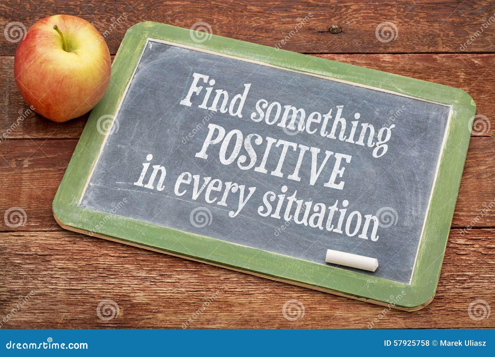 Encontre algo positivo em cada situação - quadro-negro