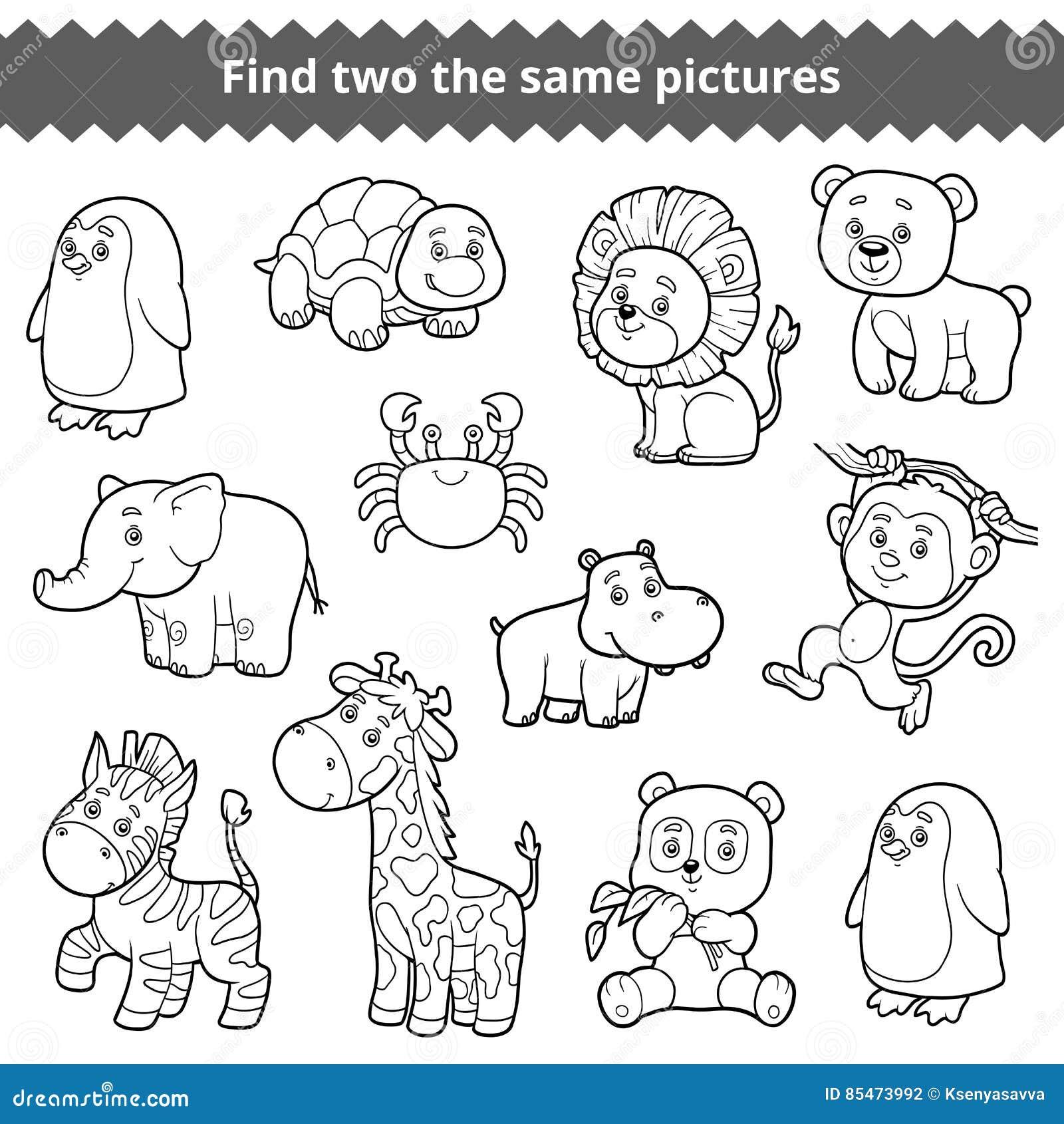 Encontre Dois As Mesmas Imagens Grupo Do Vetor De Animais Do