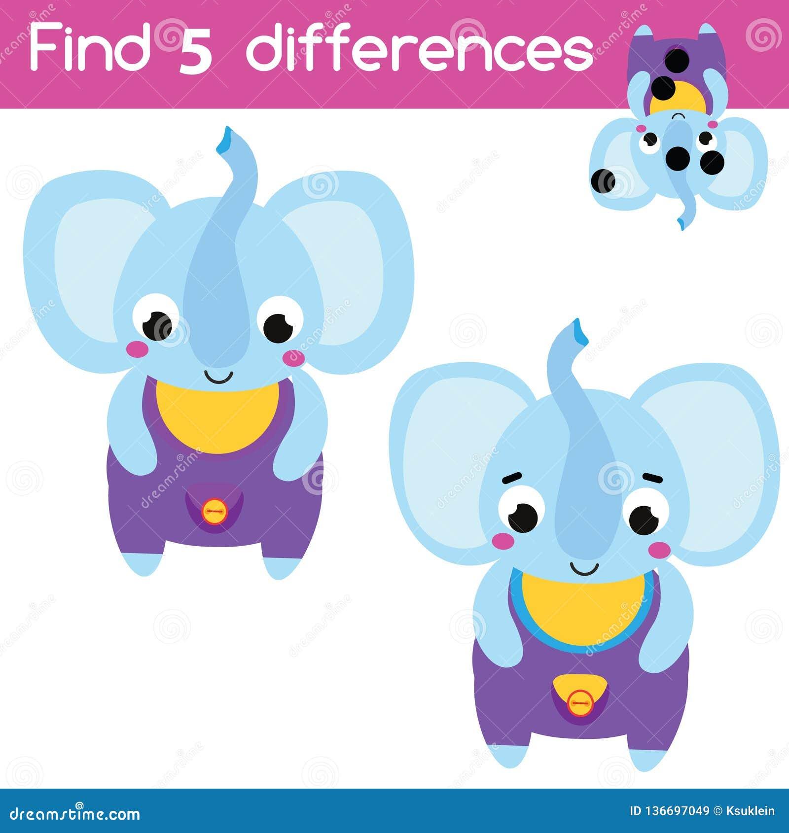 Encontre o jogo educacional das crianças das diferenças Atividade das crianças com elefante dos desenhos animados