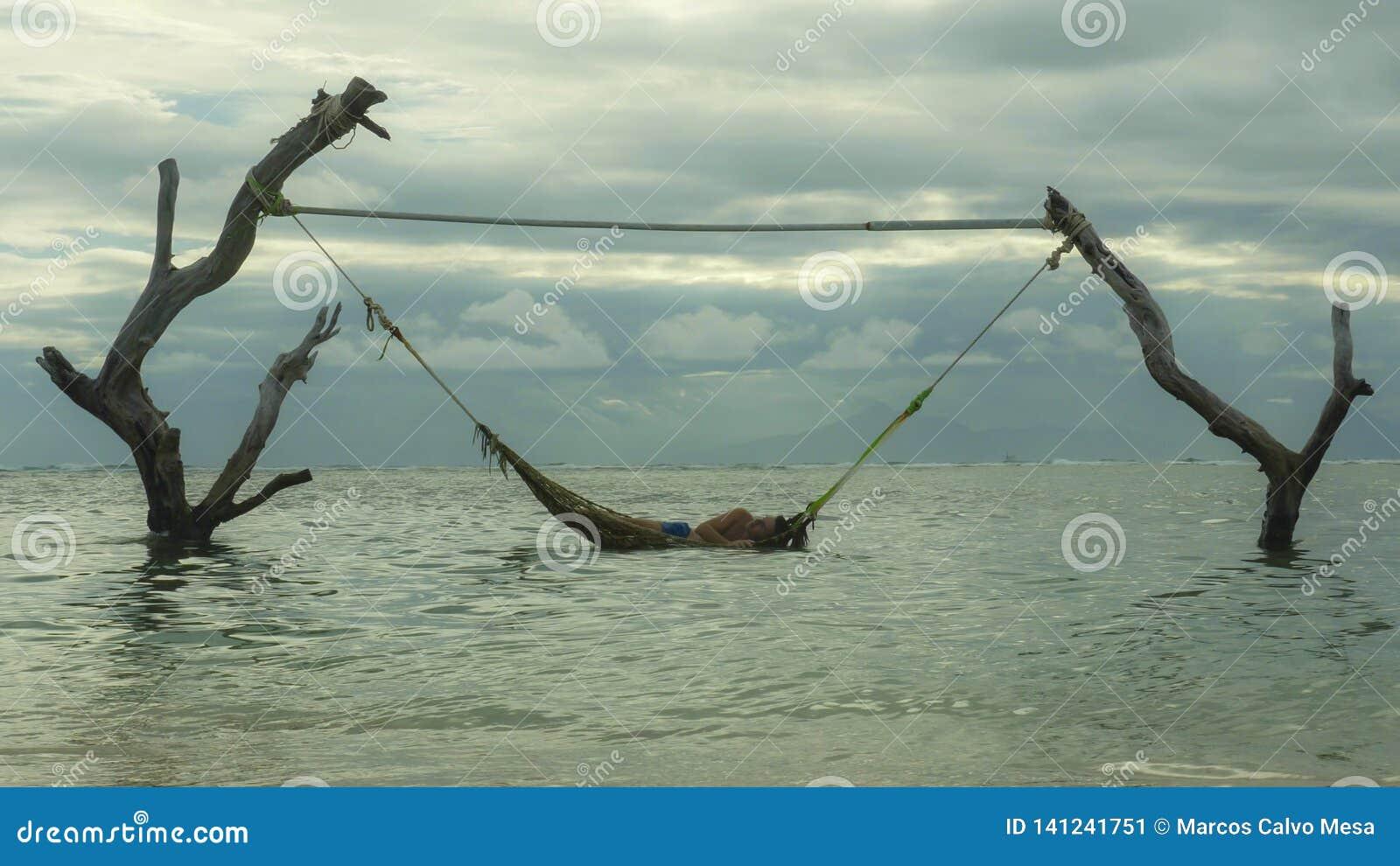 Encontro do homem relaxado e feliz na surpresa da rede do mar estabelecida em troncos de árvore na praia tropical da ilha no curs