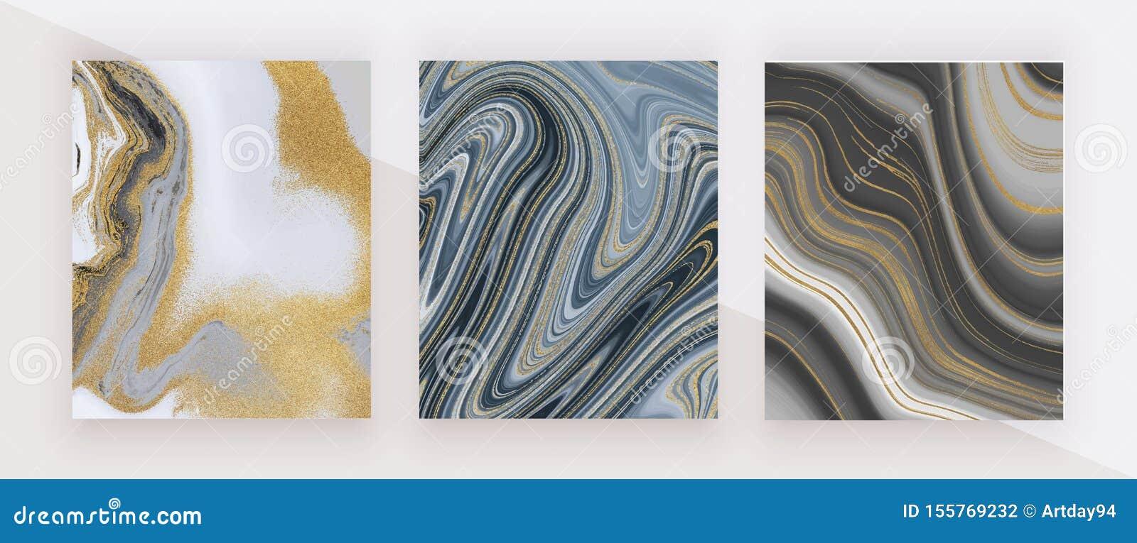 Encre noire et d or de scintillement peignant la texture de marbre liquide Configuration abstraite Milieux à la mode pour le papi