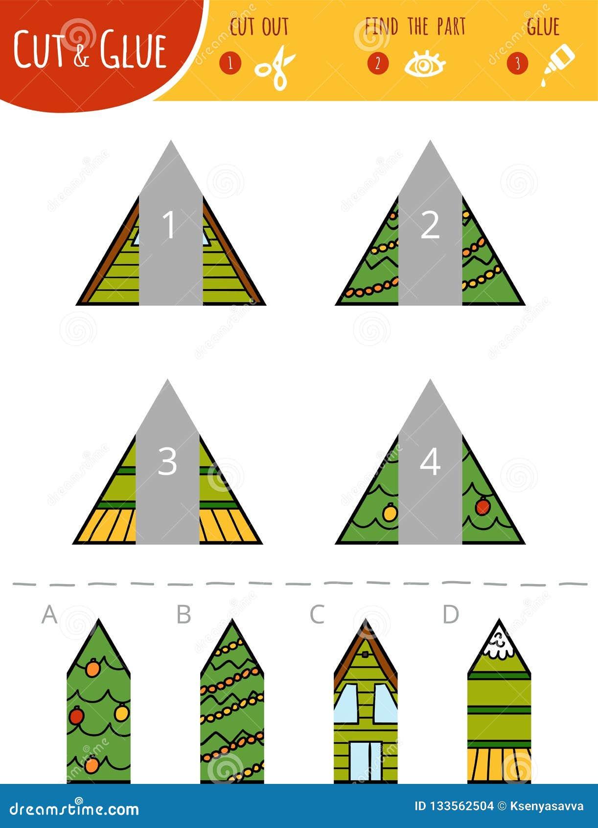 Encuentre la parte correcta Corte y juego del pegamento para los niños triángulos