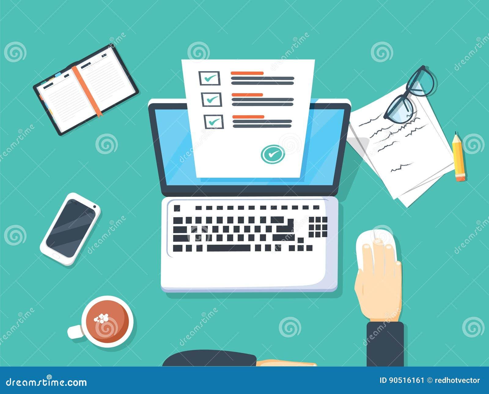 Encuesta sobre en línea la forma en el ejemplo del vector del ordenador portátil, persona que trabaja en el ordenador