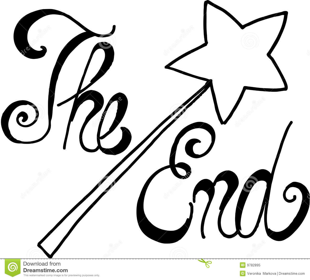 The end of story in black. vector image on white background.
