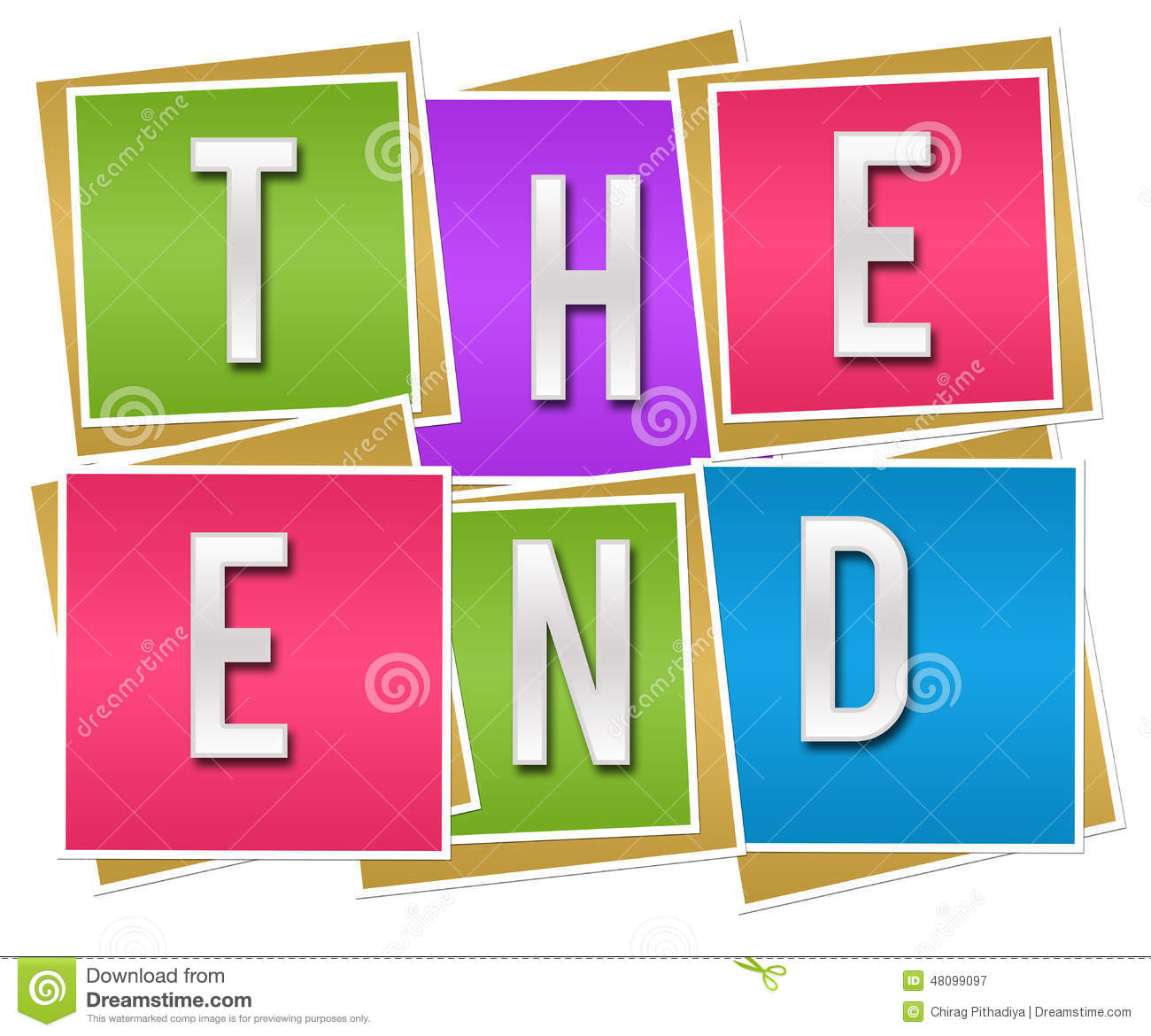 The End Colorful Blocks Stock Illustration - Image: 48099097