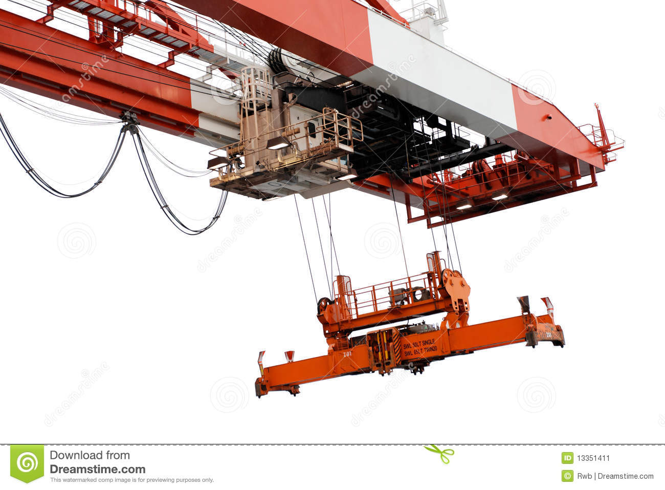 End Of Container Crane Beam And Spreader, Isolated Stock Image - Image ...