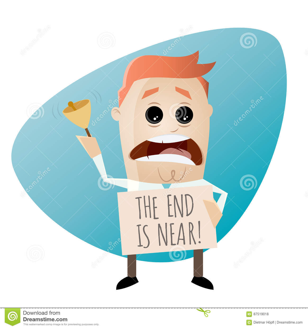 the end is near stock vector illustration of bell character 87519018