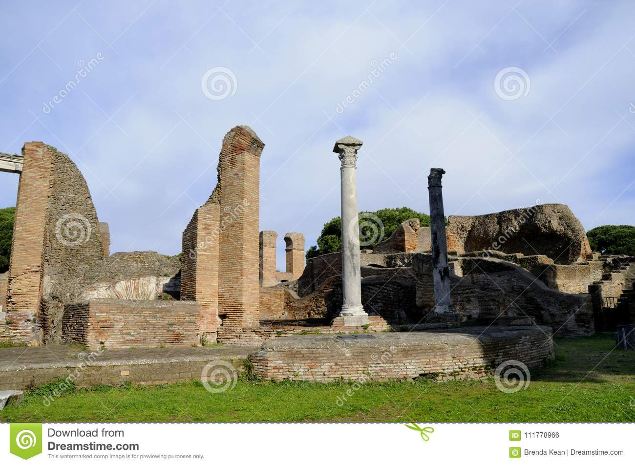 The archaeological site of Ostia Antica which was the old port of Rome in Italy