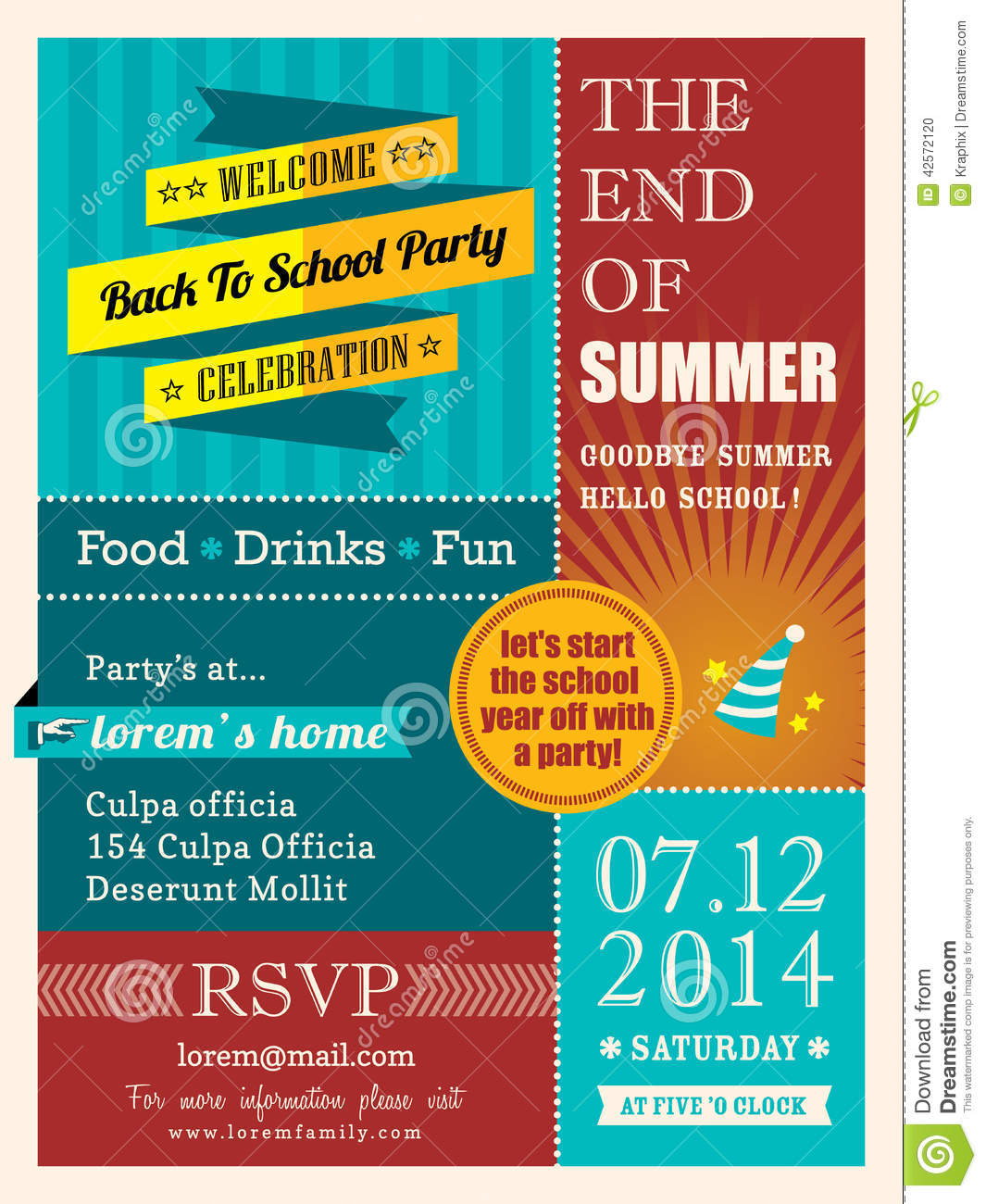 end of summer party poster or card design template stock vector