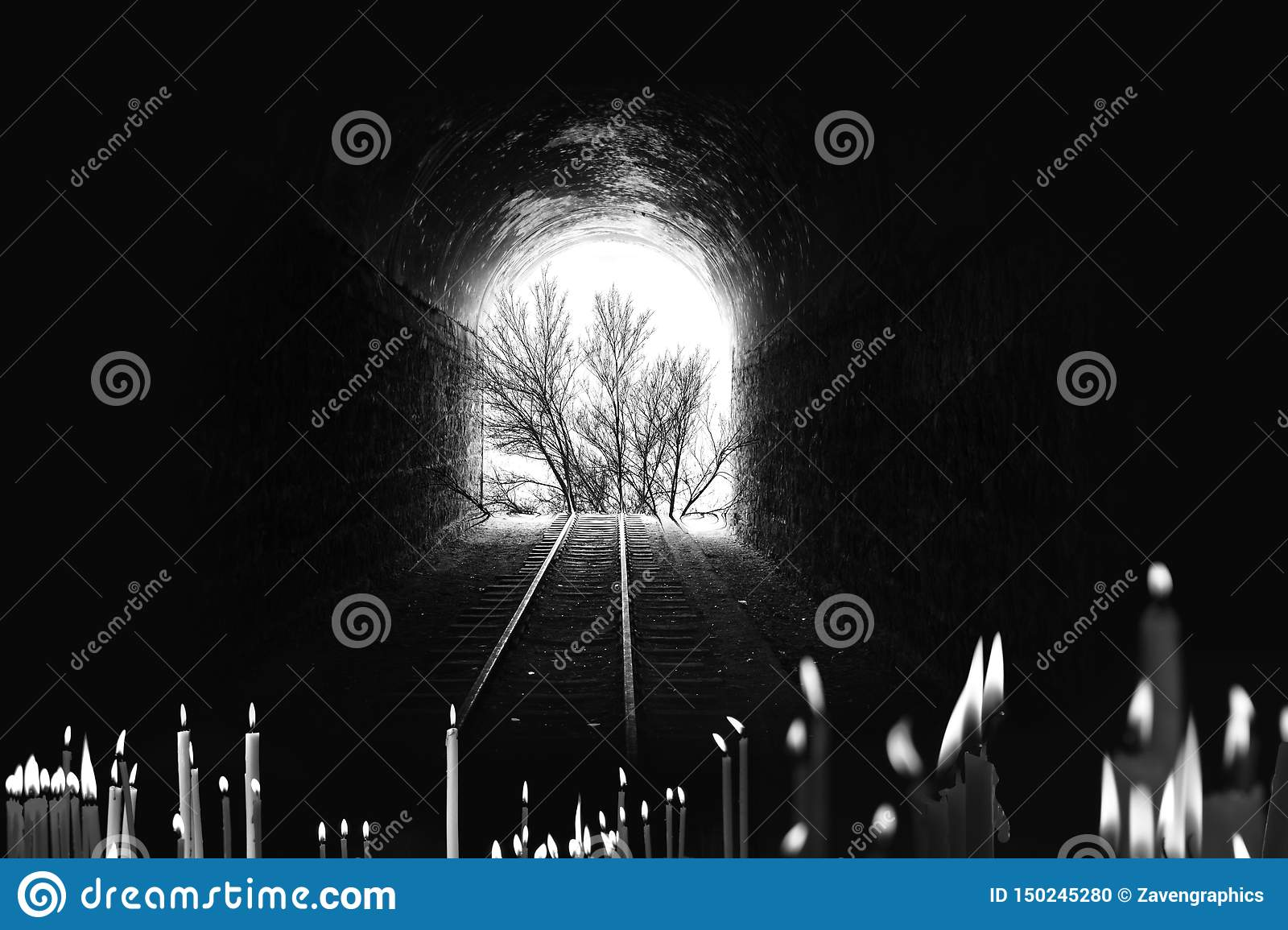 End of the tunnel, Railway tree, with candles Photography