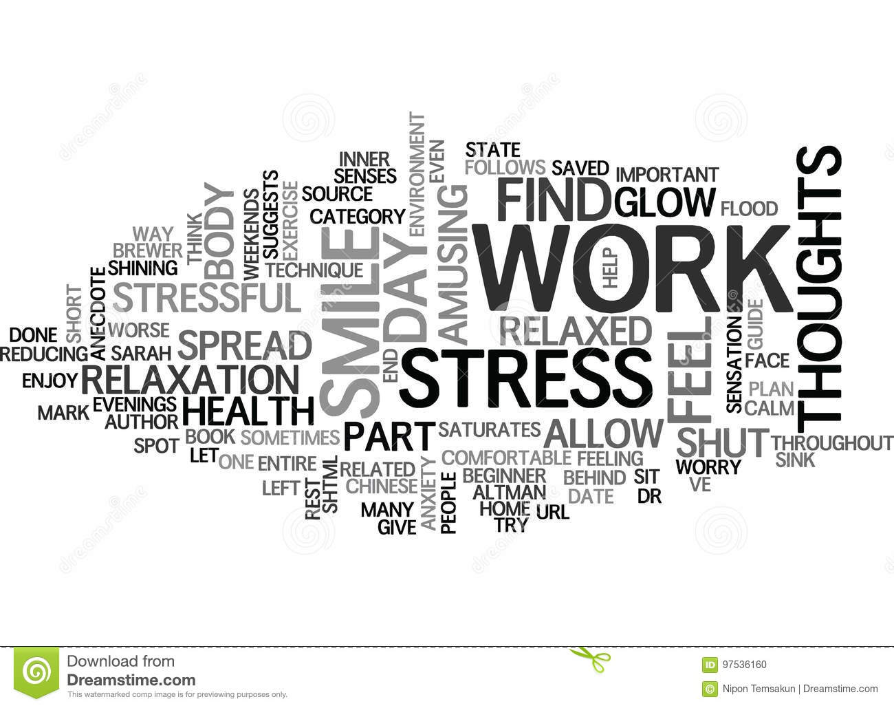 End Work Related Stress Word Cloud Concept Stock Illustration Illustration Of Sink Body 97536160