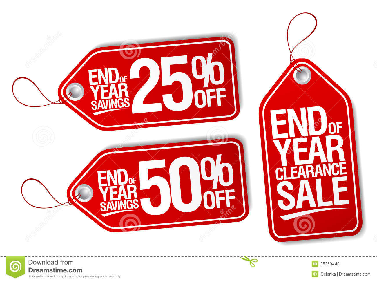 End Of Year Savings Labels Set Stock Vector Image 35259440