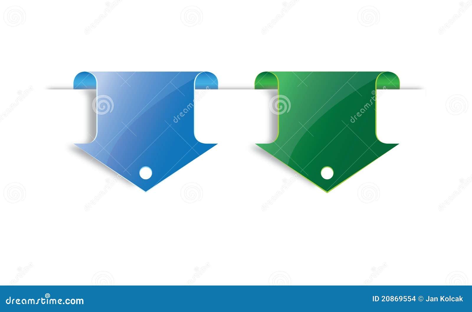 Endereço da Internet azul e verde da seta