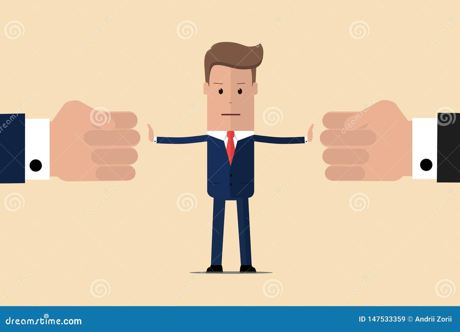 Endkonflikt Gesch?ftsmannreferent findet Kompromiss Vermittler, der Wettbewerb l?st Konflikt und L?sung Der Mann wirft zwei F?ust