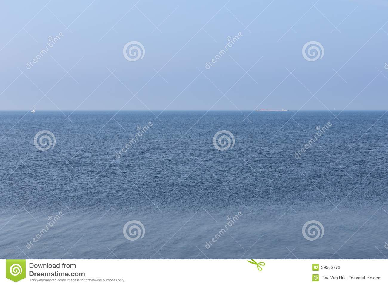 Endless Dutch sea with blue sky