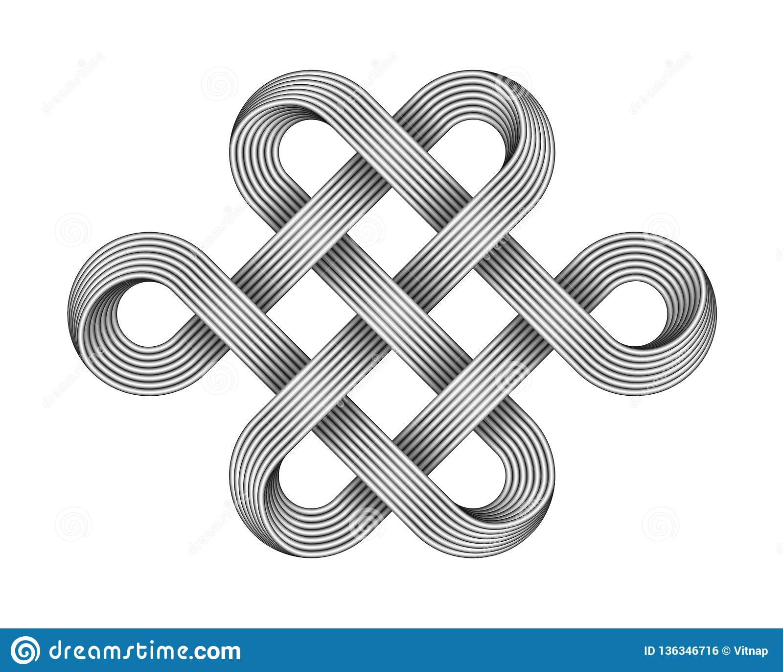 aa3a270d7 Endless knot made of crossed metal wires. Buddhist symbol. Vector  illustration