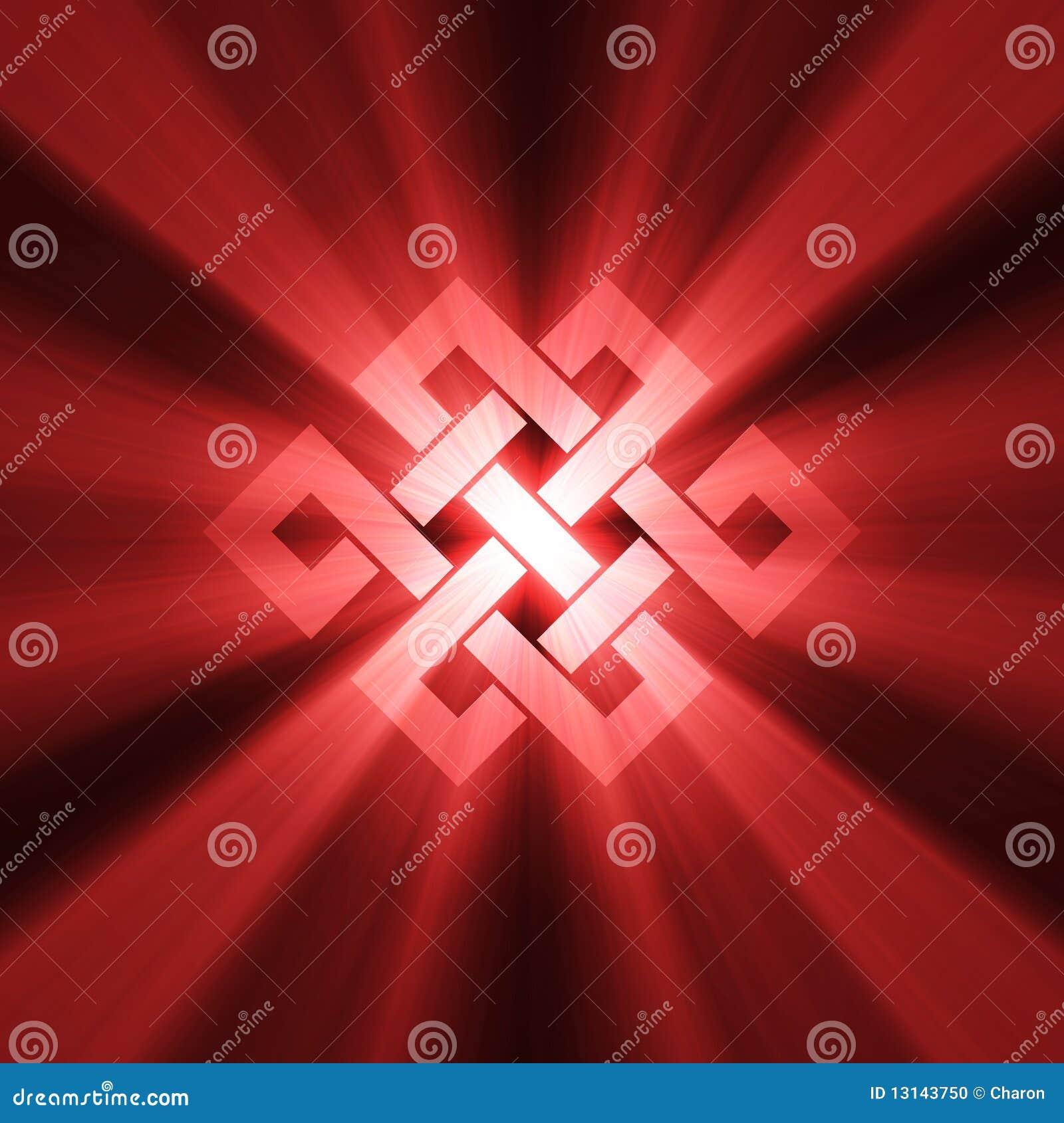 Eternal Knot Charm Sign Light Flare Stock Illustration
