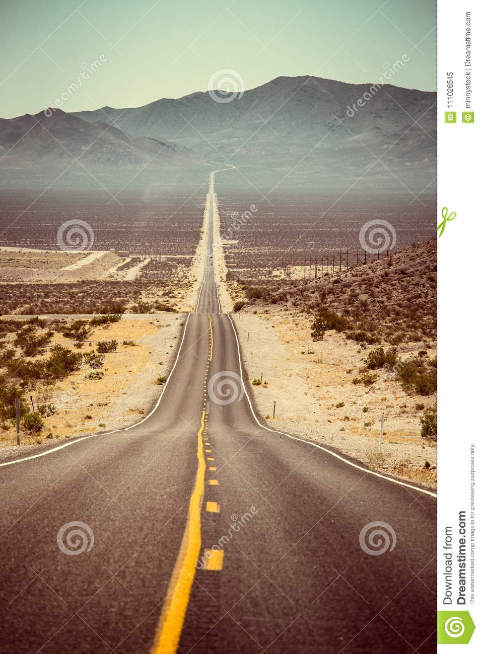Endless straight road in the American Southwest, USA