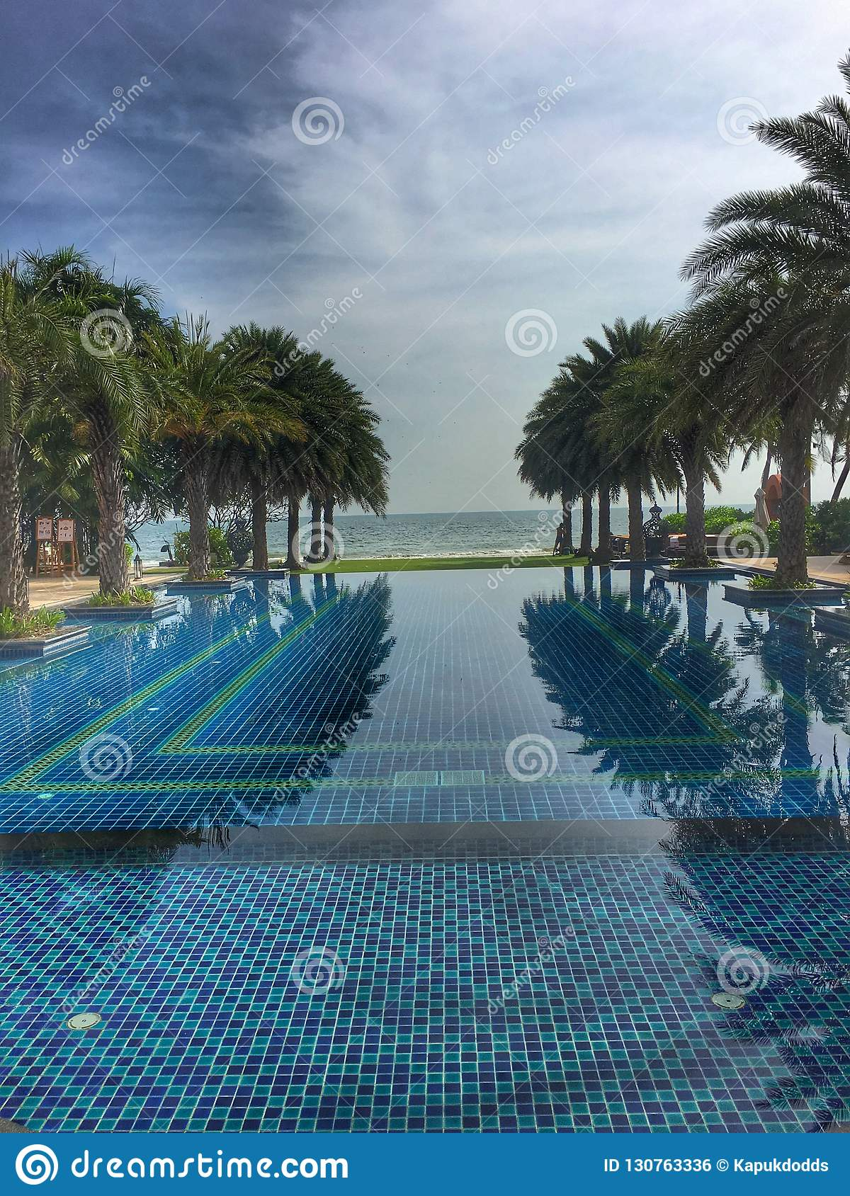 Endless Swimming Pool With Palm Trees Stock Photo - Image of ...