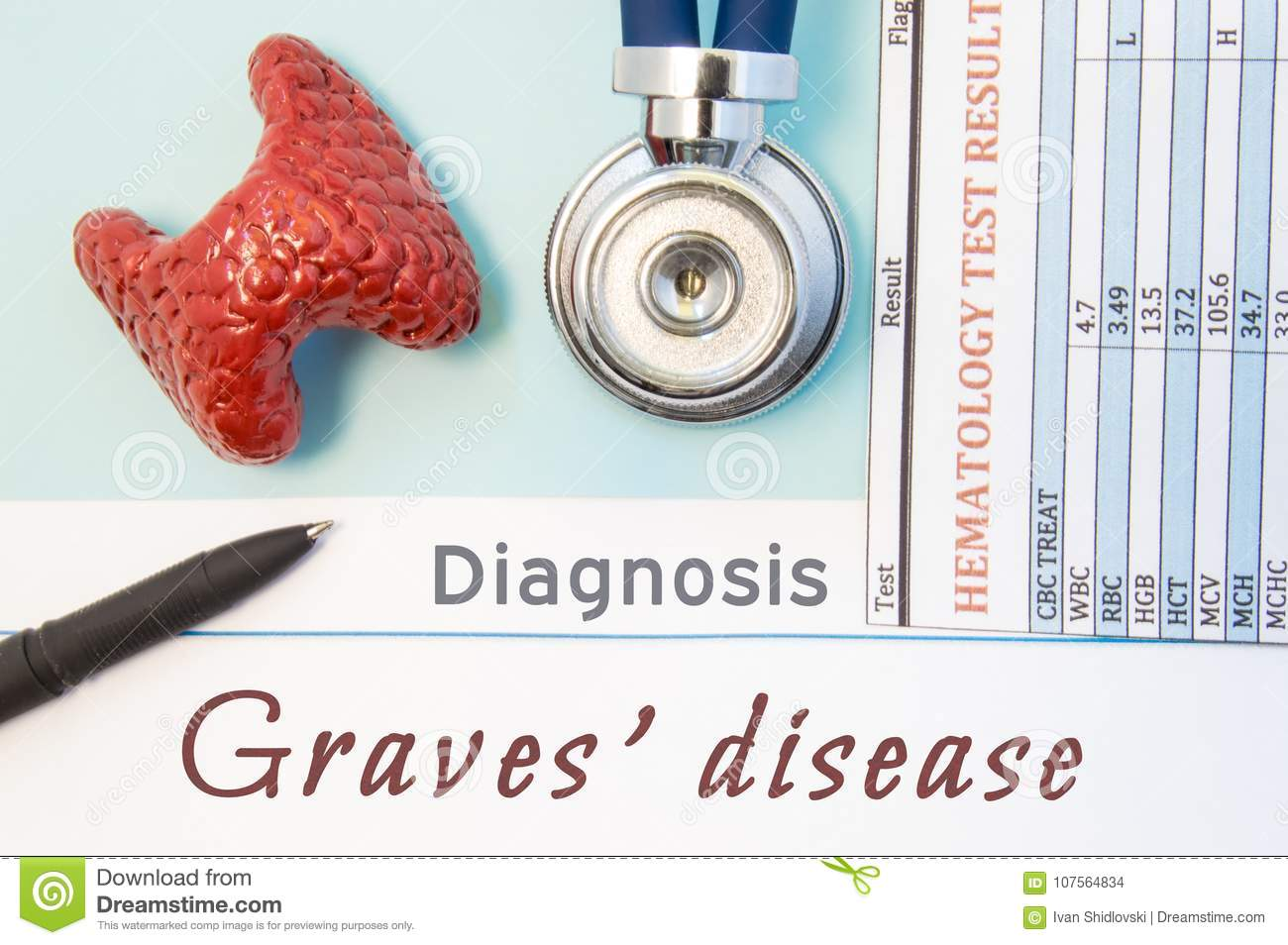 Endocrinology diagnosis Graves` disease. Figure of thyroid gland, result of laboratory analysis of blood medical stethoscope and b