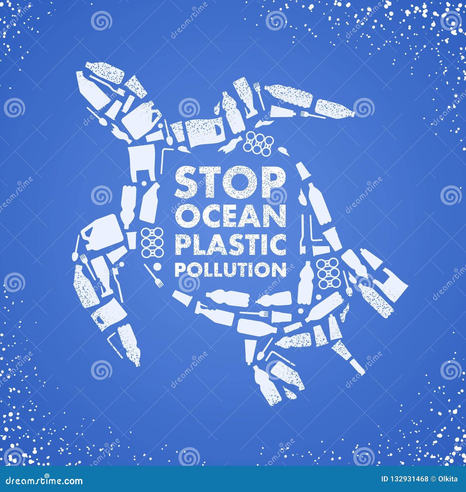 Endozeanplastikverschmutzung Ökologisches Plakat Schildkröte bestanden aus weißer überschüssiger Plastiktasche, Flasche auf blaue