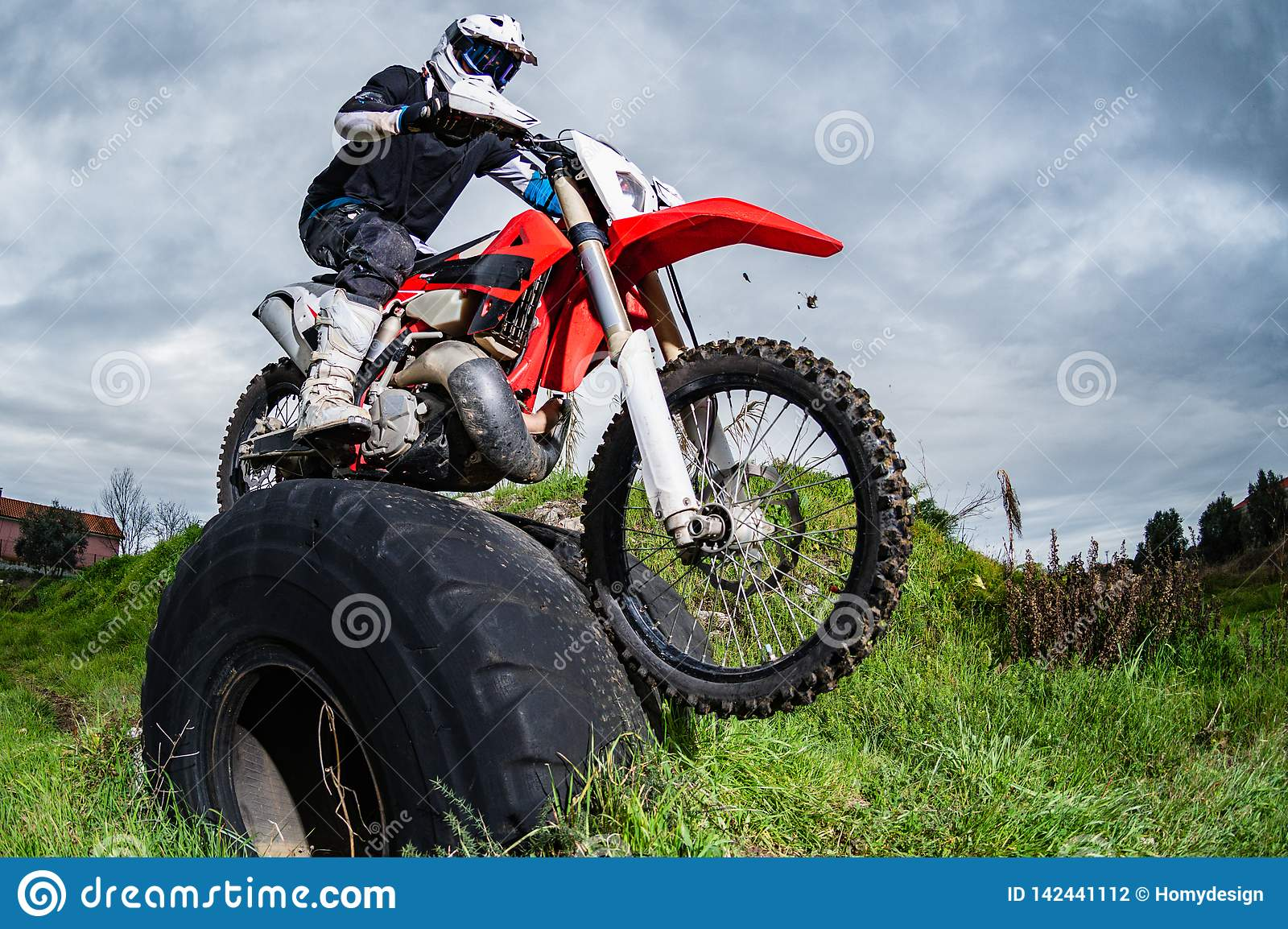Enduro bike rider stock image. Image of freeride, dirt