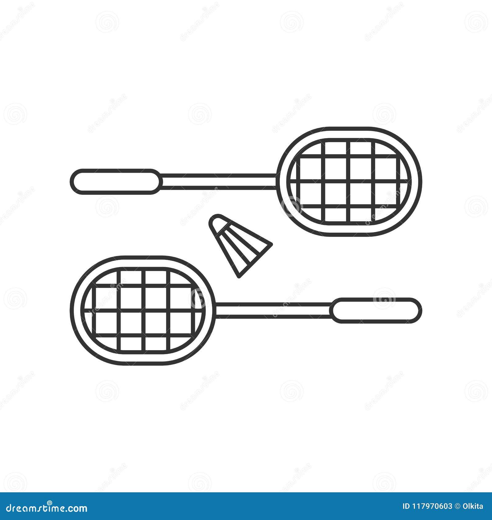 Enegreça o ícone isolado do esboço de raquetes de badminton com a peteca no fundo branco Linha ícone de badminton